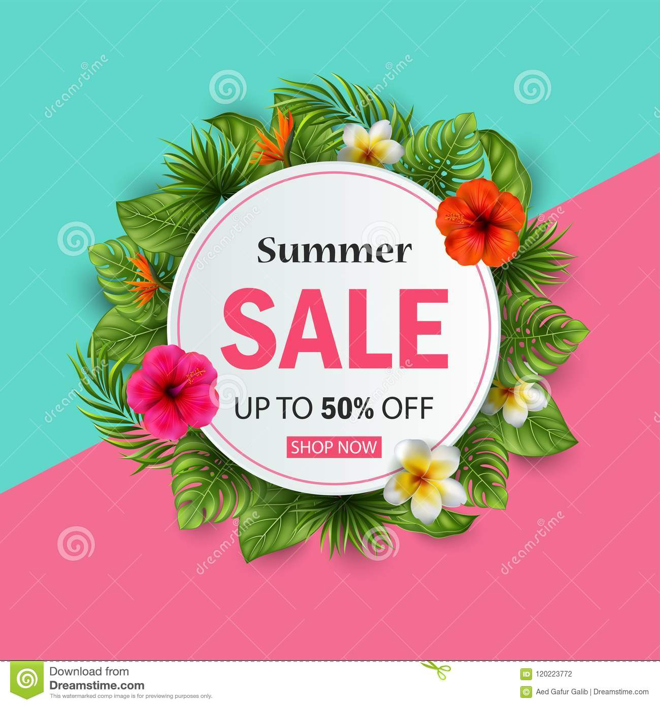 Summer Sale Banner With Tropical Flowers And Leaves For Promotion