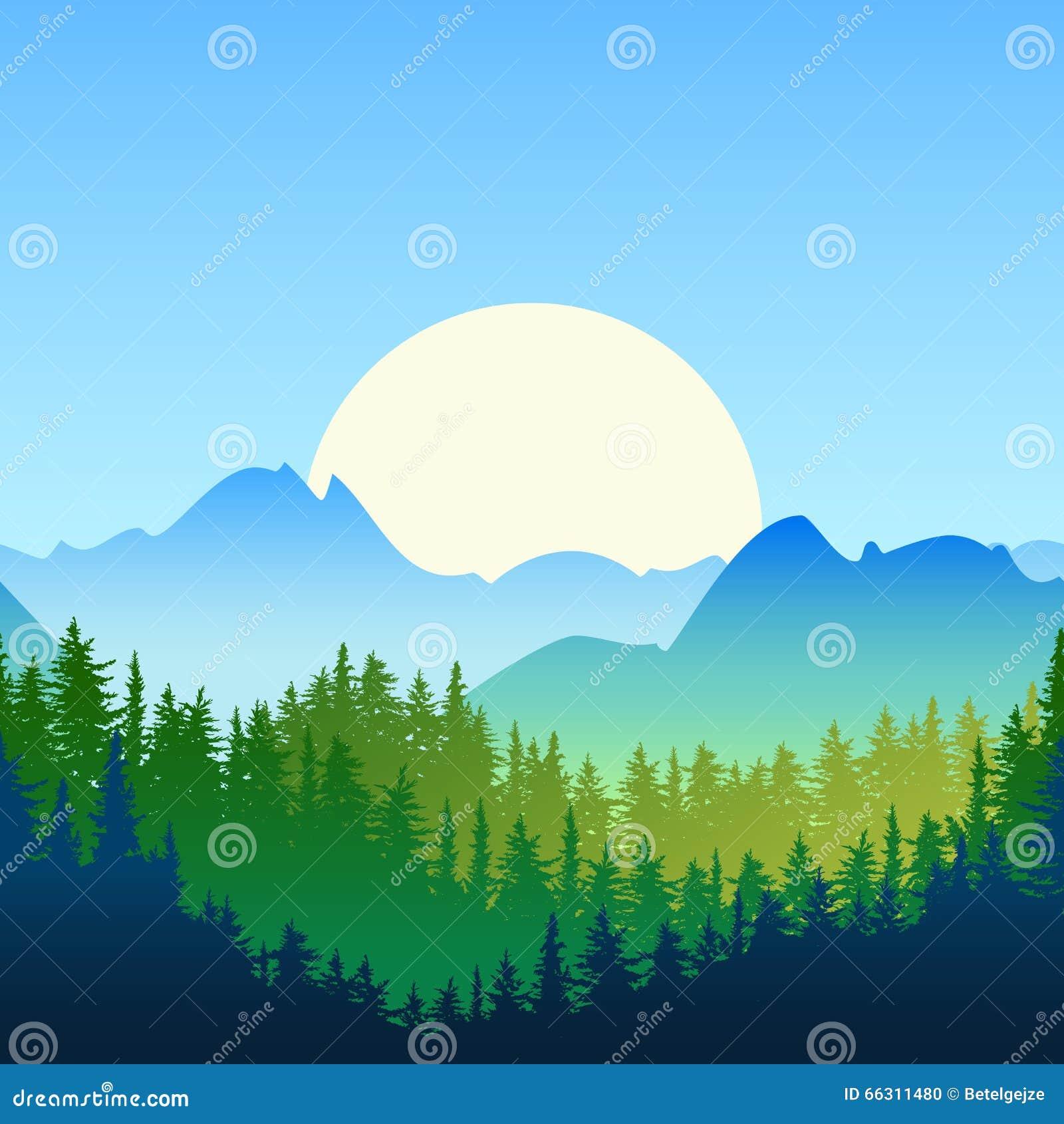 Landscape Illustration Vector Free: Illustration Of Summer Or Spring Landscape. Sun, Mountains
