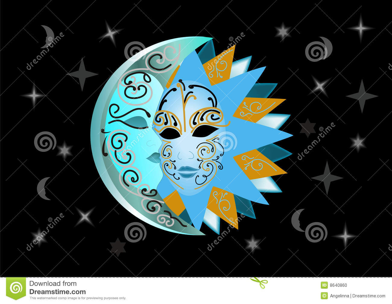 Celestial Sun And Moon Kissing Illustration of sun and moon Celestial Sun And Moon Pictures
