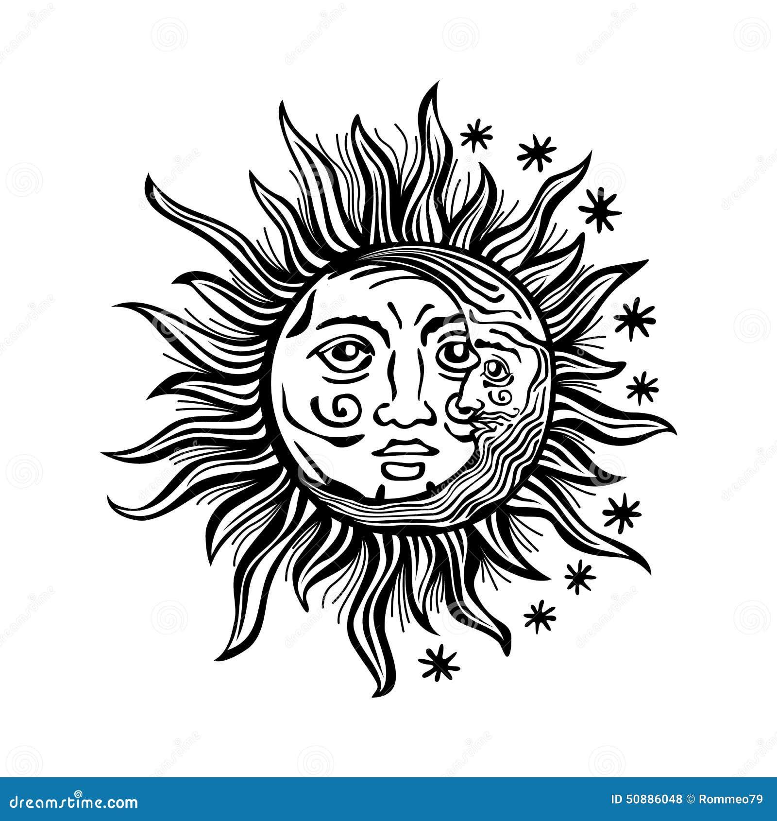 Line Drawing Sun Vector : Illustration sun moon star human faces retro vintage