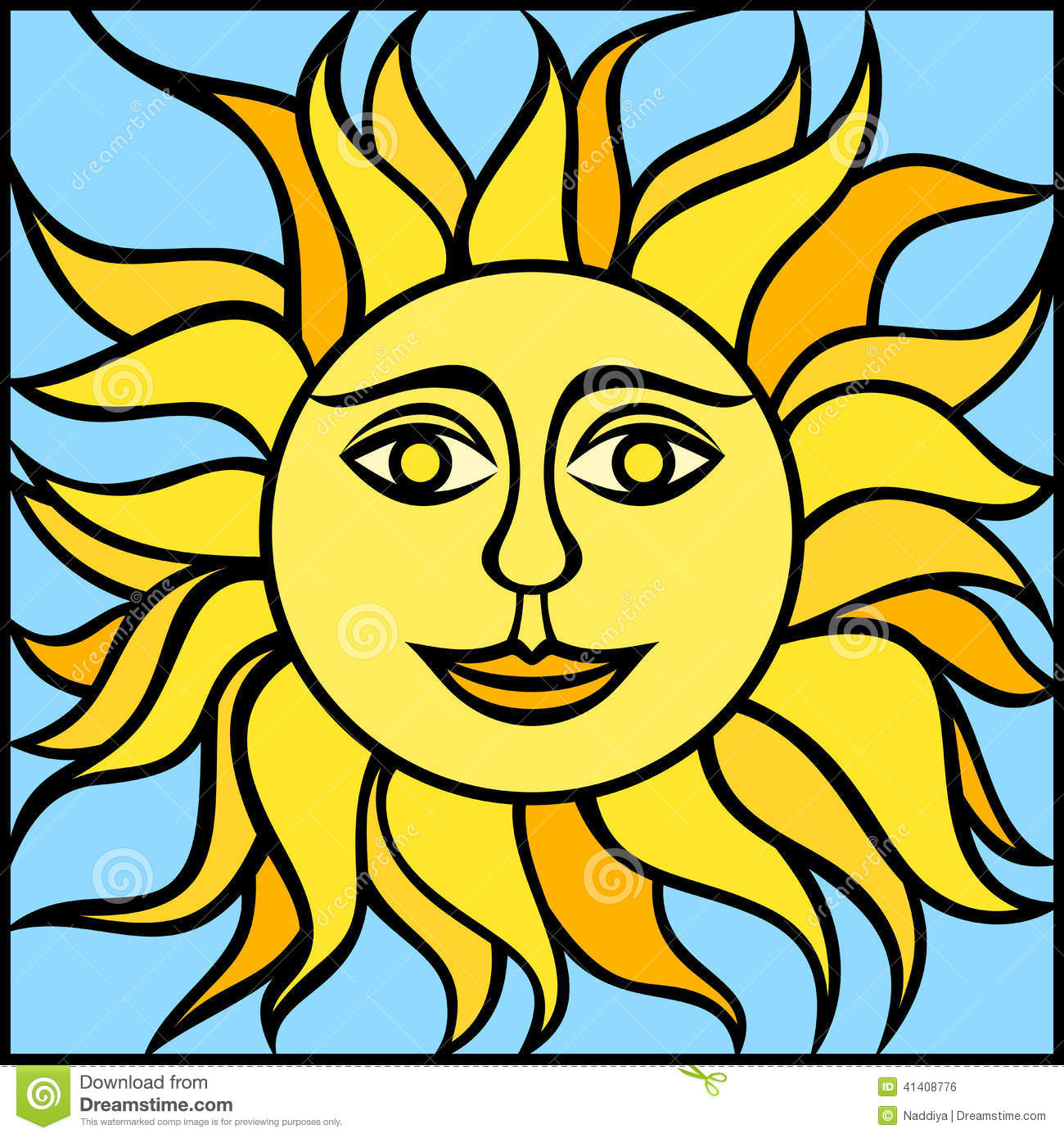 illustration sun smiling face vector illustration yellow blue 41408776