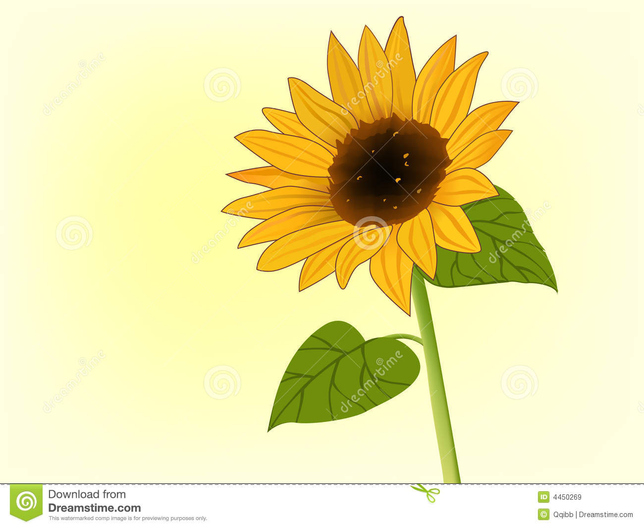 Illustration Of Sunflower In Bloom Royalty Free Stock