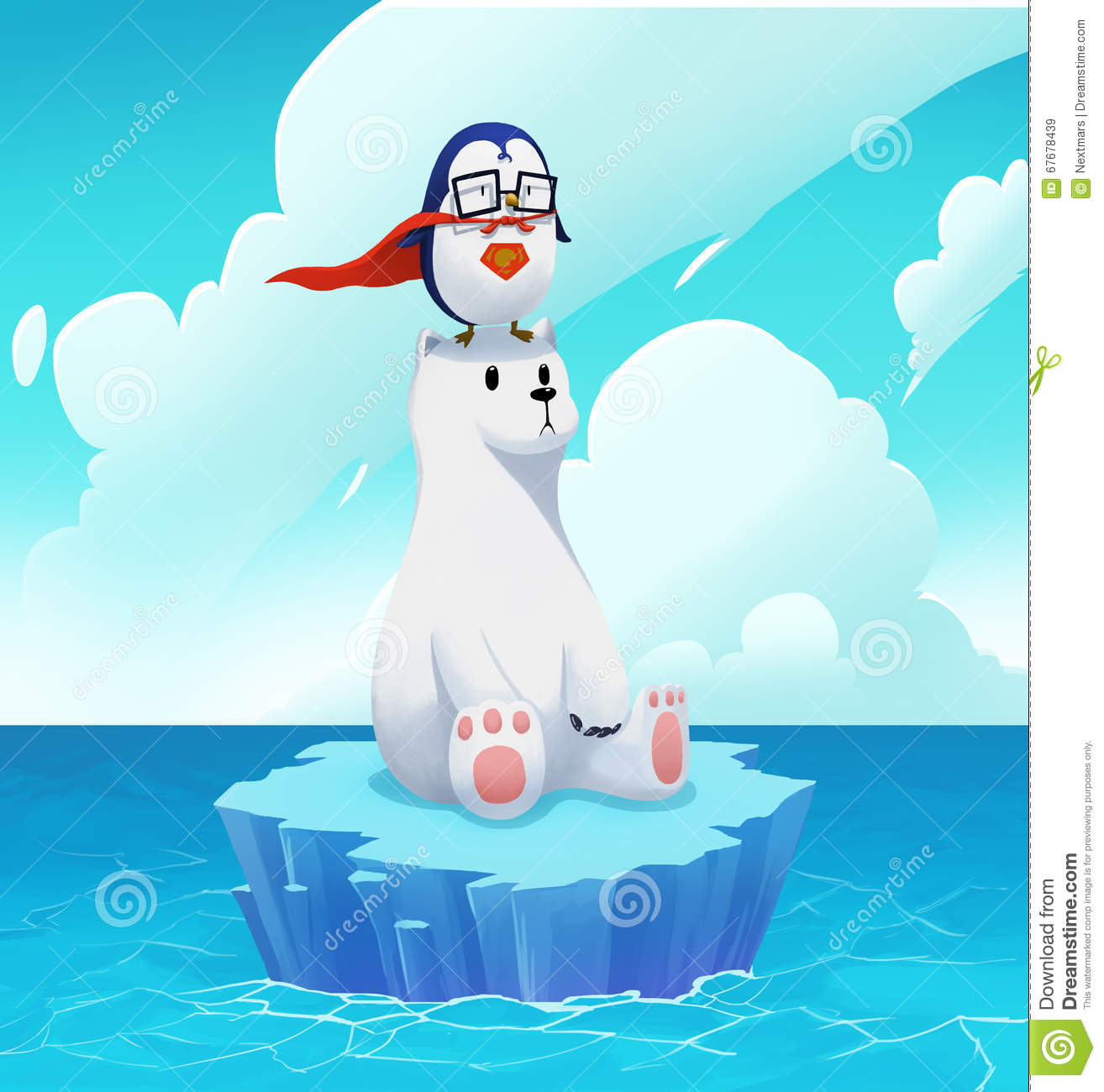 illustration  the super penguin and polar bear  stock illustration