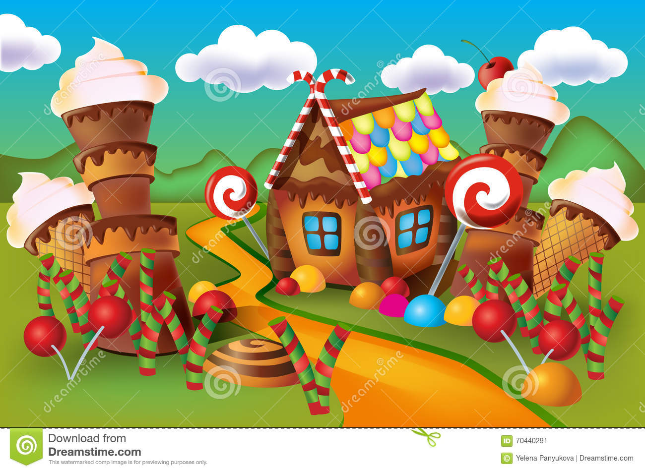Cake Decoration At Home Illustration Of Sweet House Of Cookies And Candy Stock