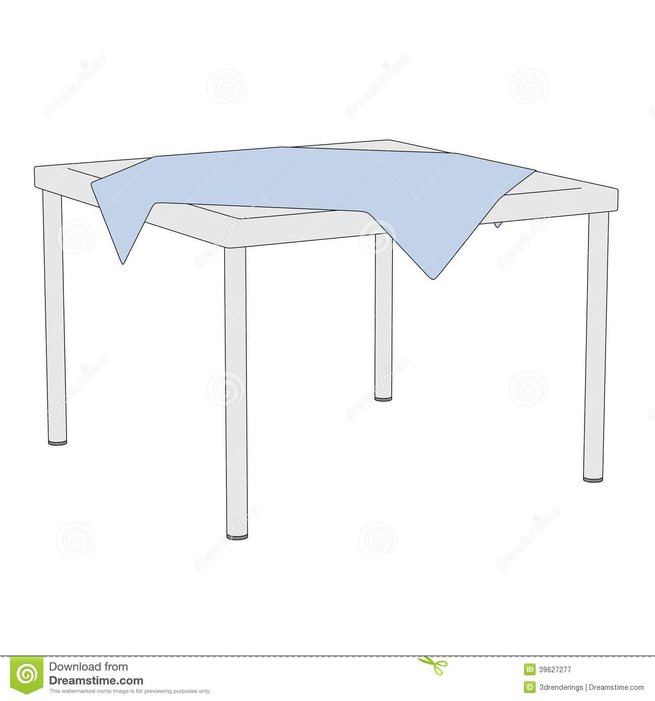 Illustration of table with tablecloth stock illustration for Table 3d dessin