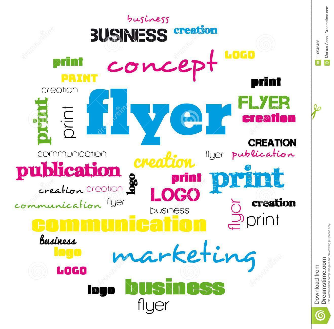 a tag word cloud for flyer and logo design stock illustration