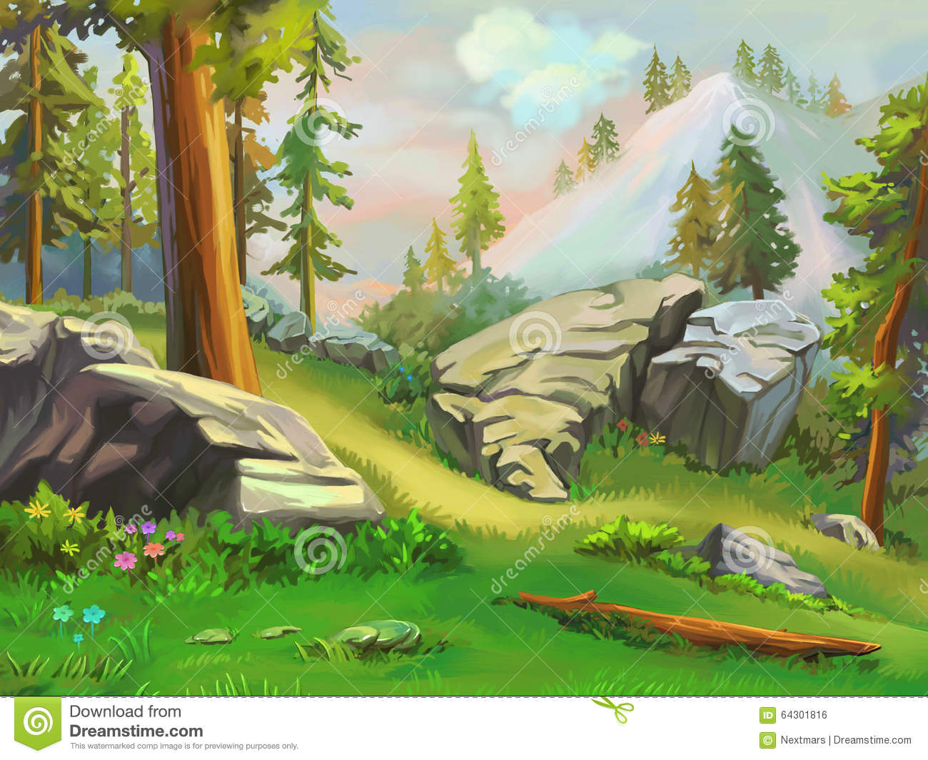 Most Inspiring Wallpaper Mountain Cartoon - illustration-take-short-rest-mountain-woodland-fantastic-cartoon-style-wallpaper-background-scene-design-64301816  Trends_187549.jpg