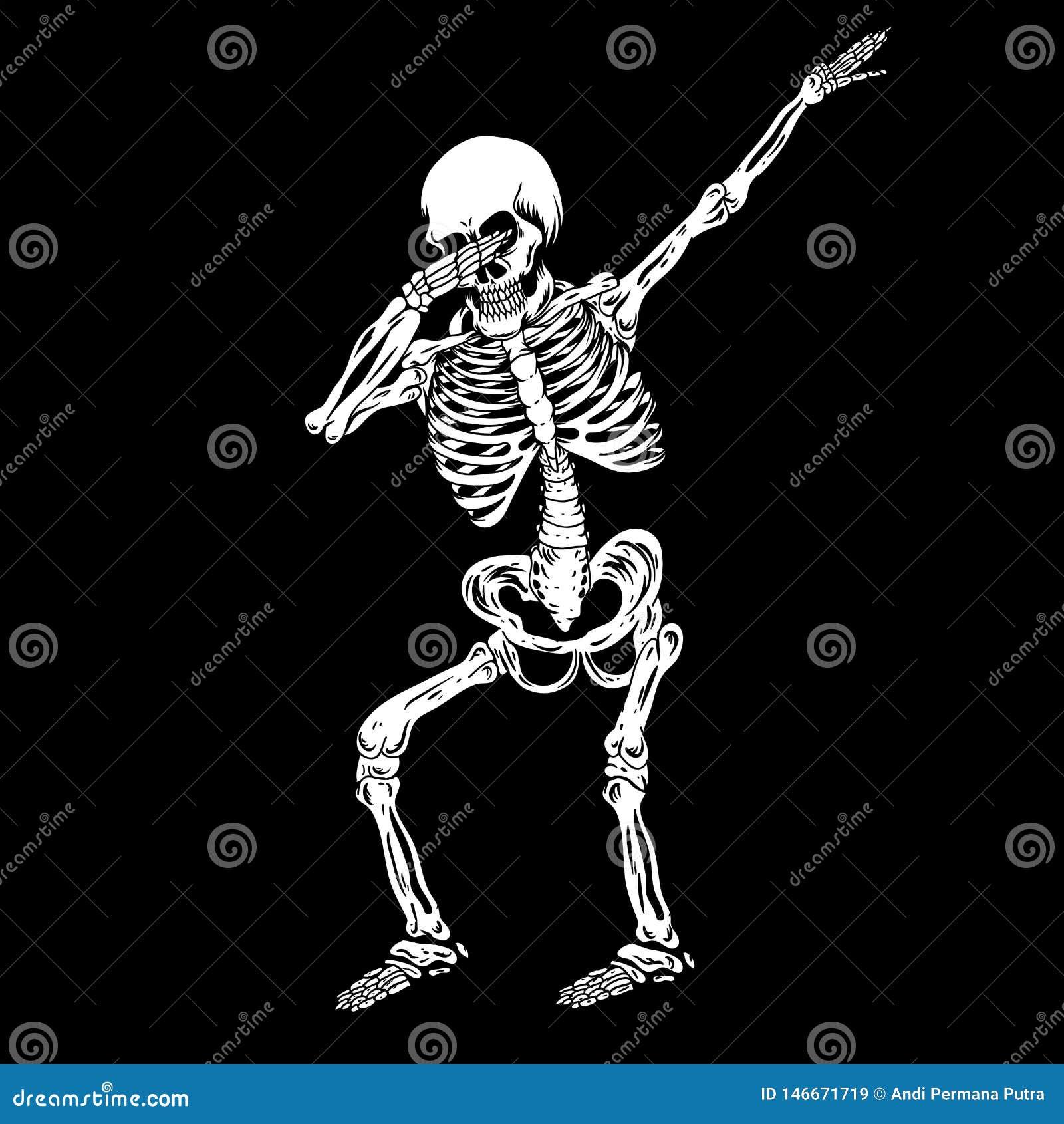 Illustration tamponnante humaine squelettique de vecteur