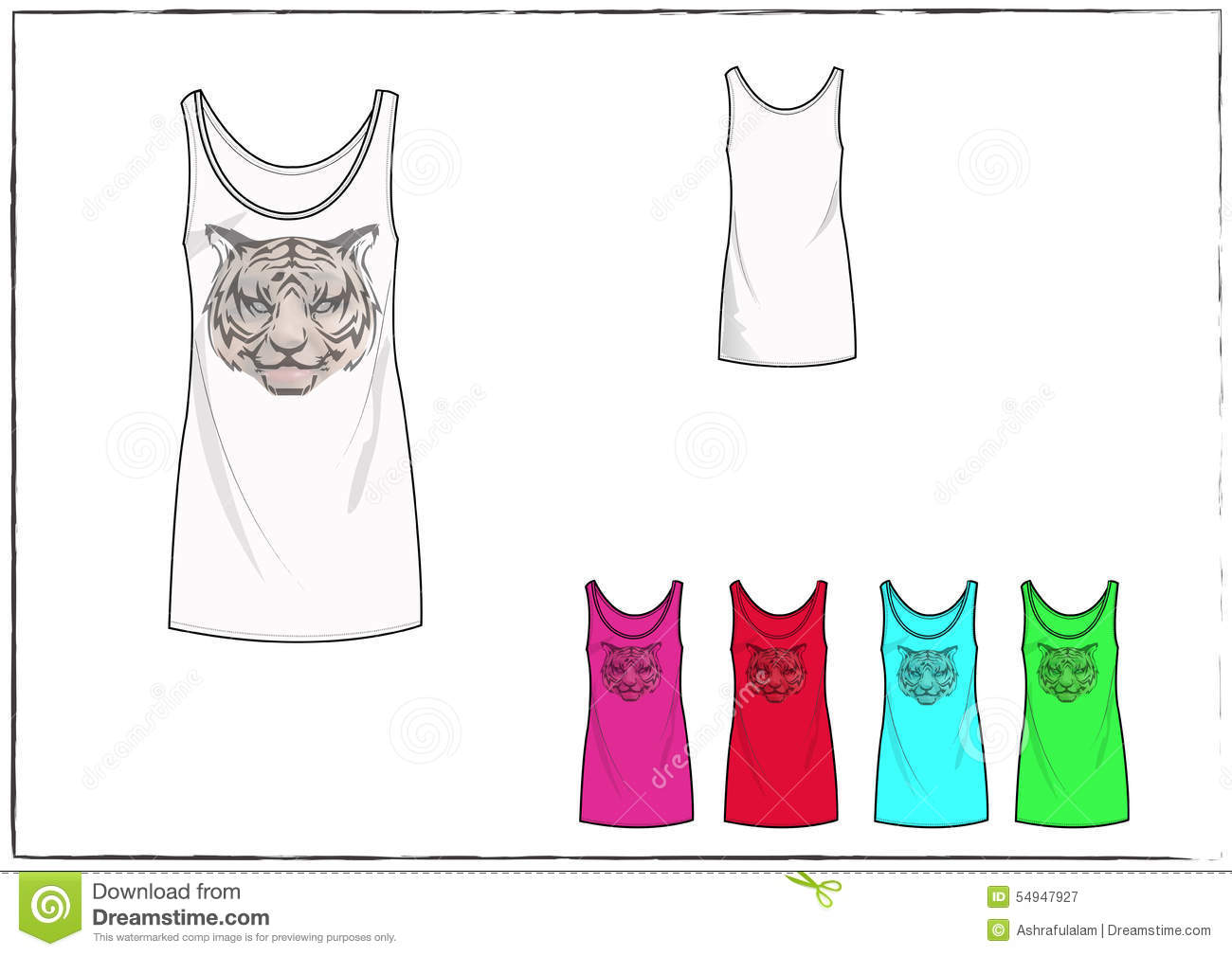 Illustration Of Tank Top With Cat Face Clothing Design Template
