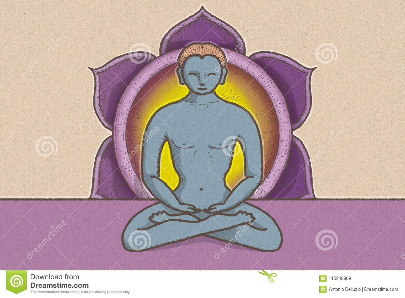 Illustration Of Tantric Position With Symbols Of Chakras And Lotus