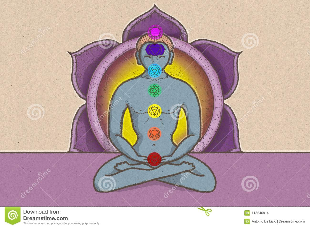Illustration of tantric position with symbols of chakras and lotus illustration of tantric position with symbols of chakras and lotus flower izmirmasajfo