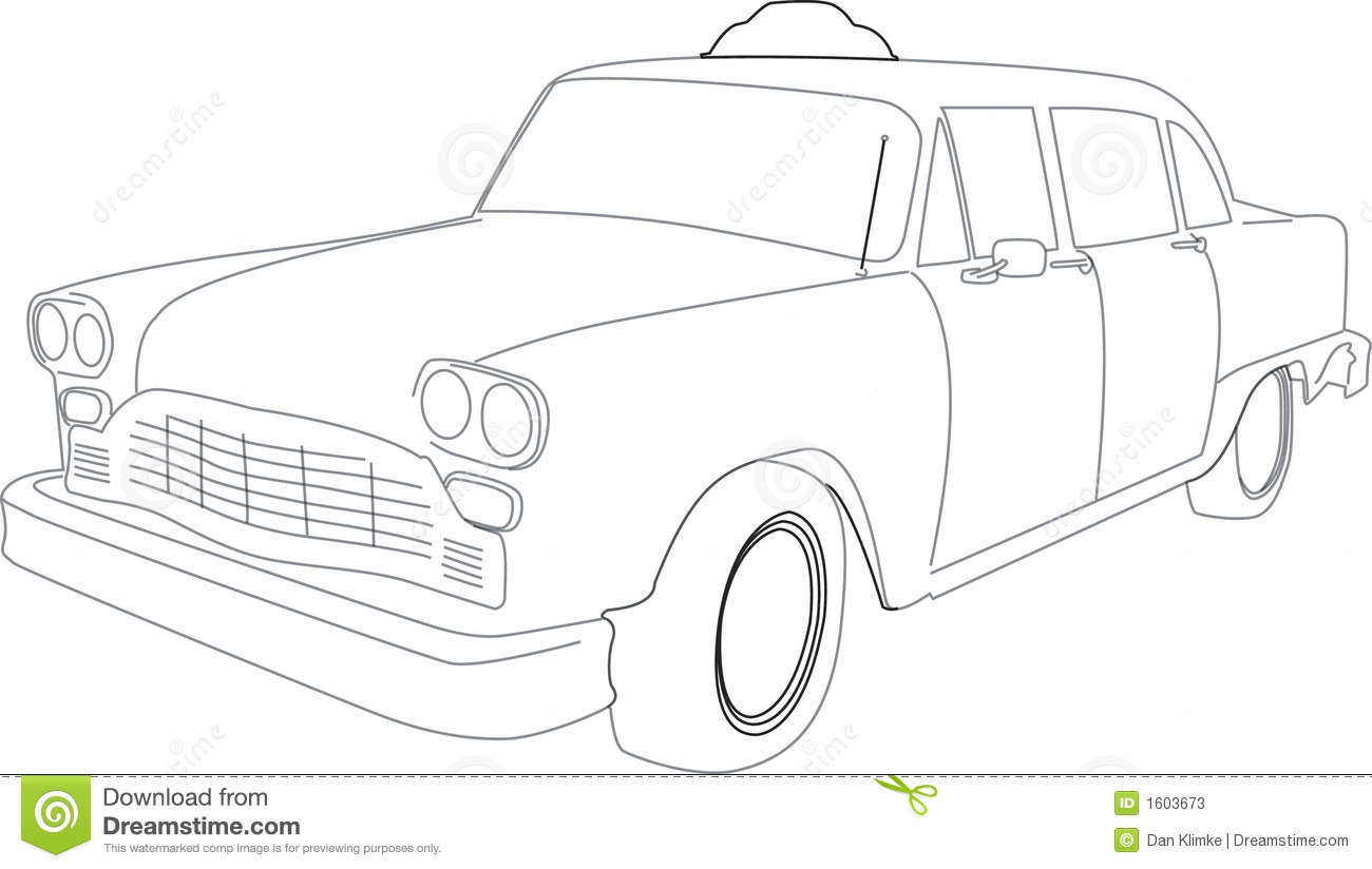 Illustration Of A Taxi Cab Stock Photos - Image: 1603673 |Yellow Taxi Cab Drawing