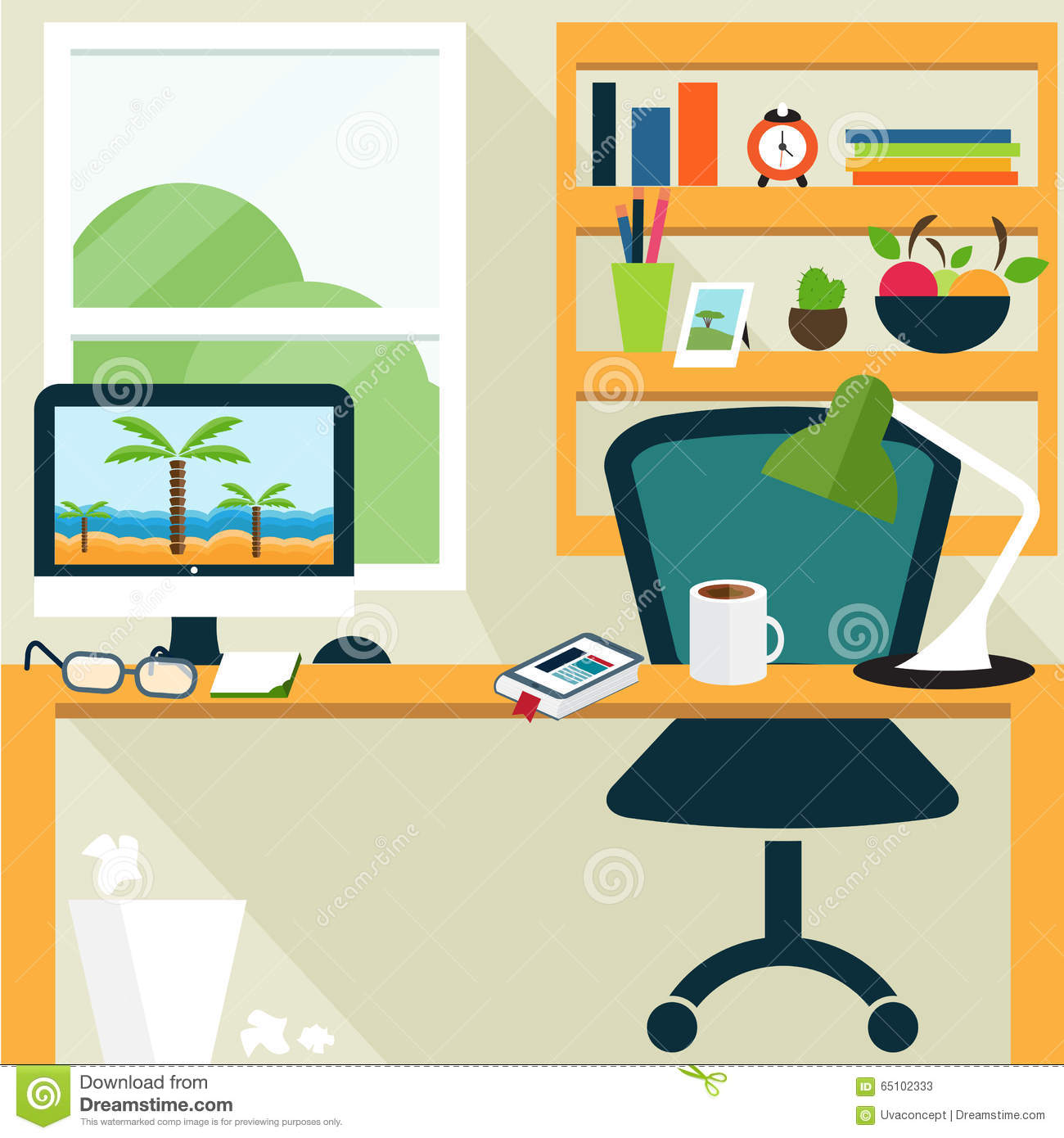Illustration Template Of Office Room.Vector Stock Vector ...
