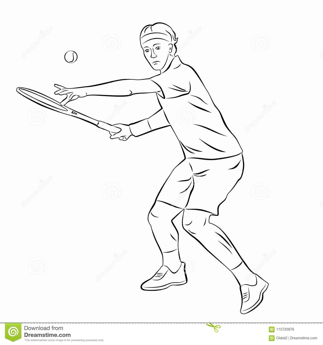 Illustration Of A Tennis Player Vector Draw Stock Vector Illustration Of Forehand Black 115720976