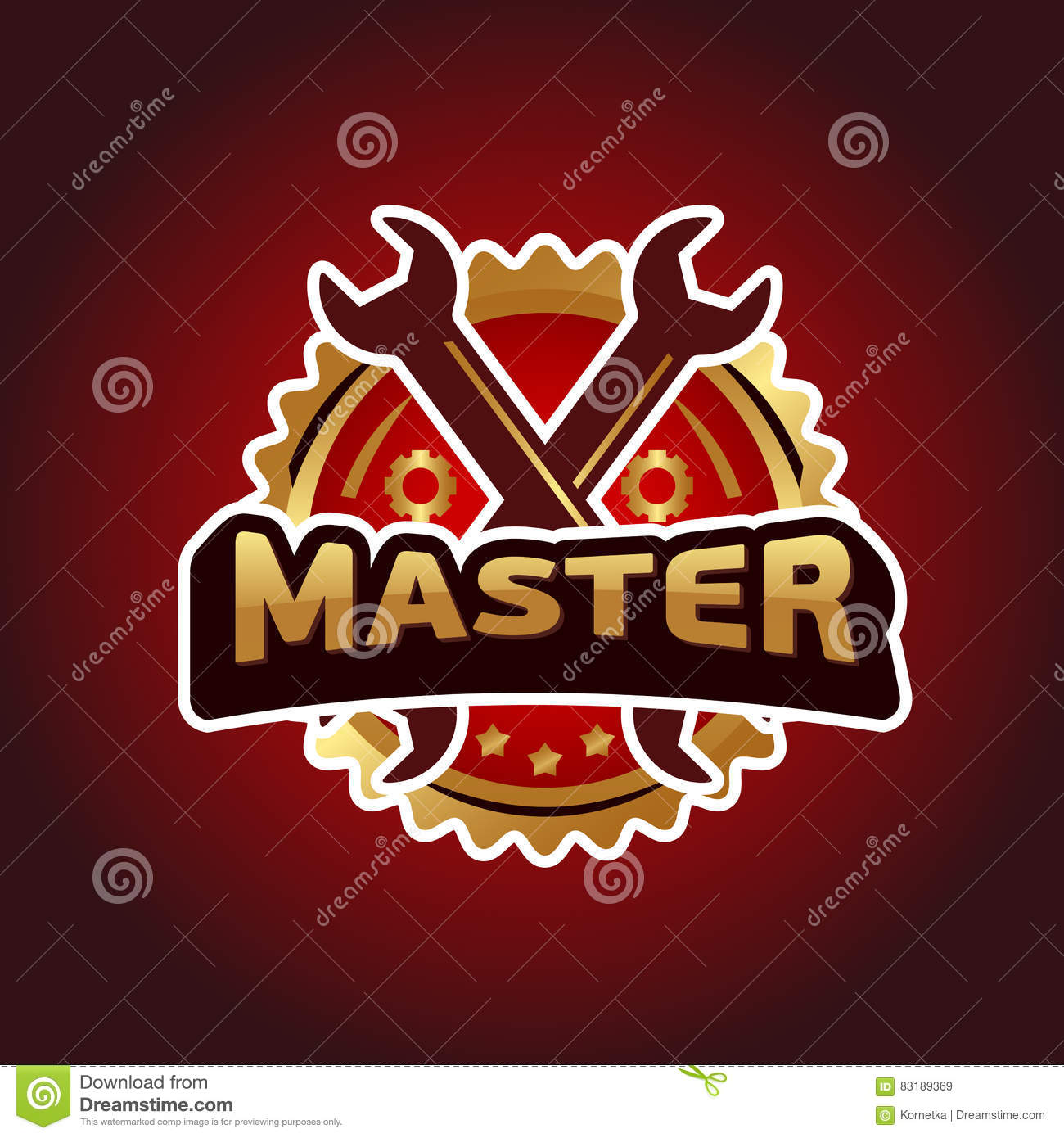 Illustration Text Master Hammer And Wrench Stock Vector