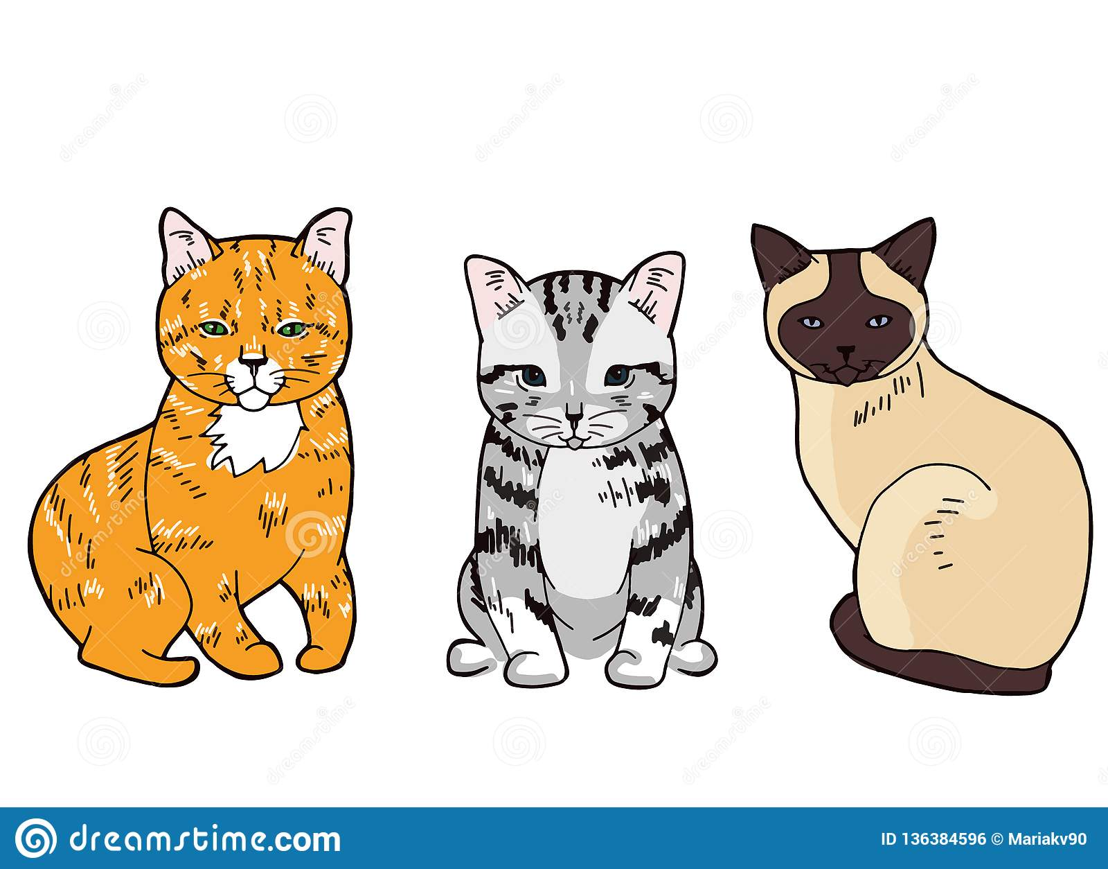 Illustration of three colorful sitting cats on white background
