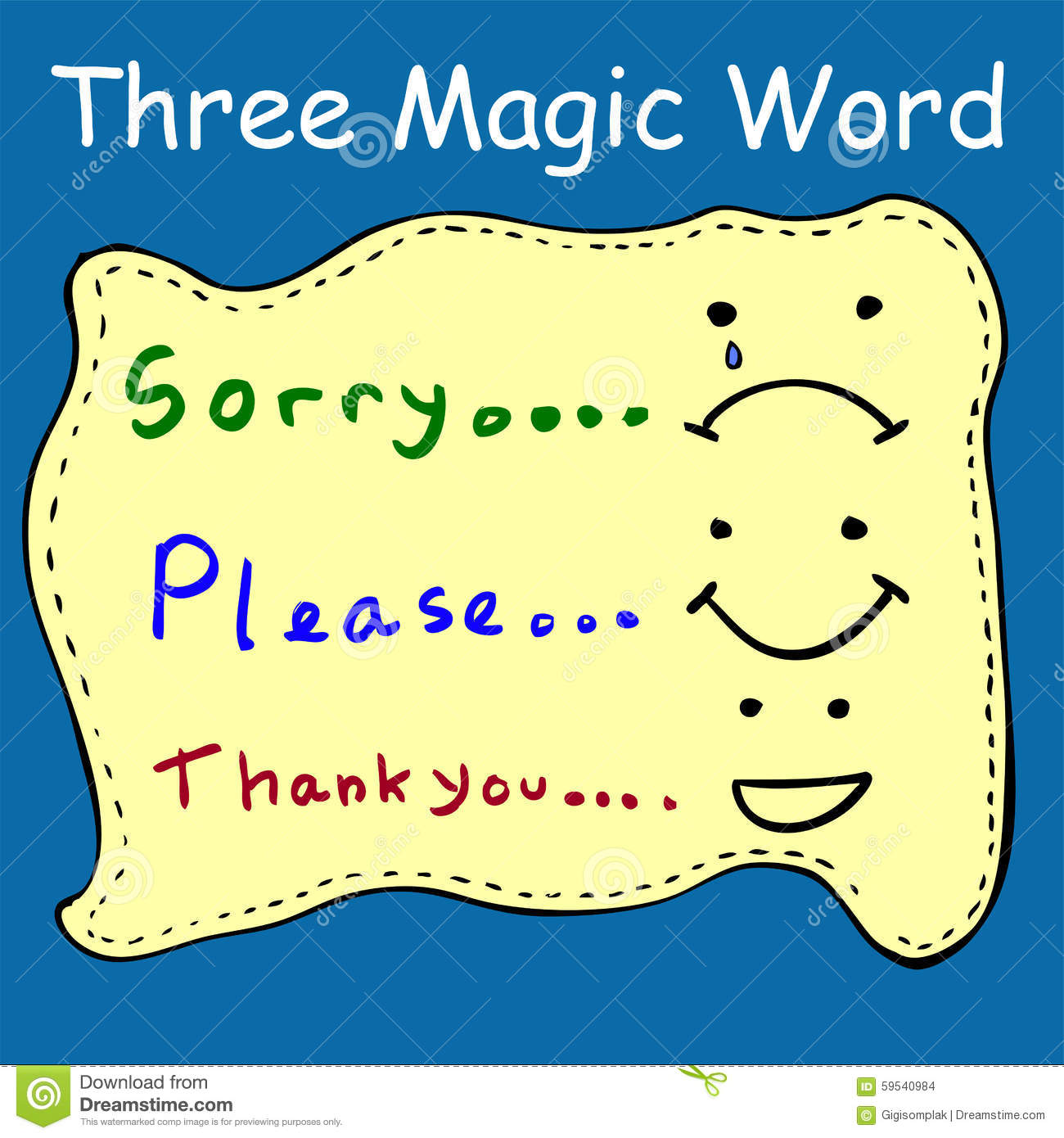Illustration For Three Magic Words Stock Vector Image
