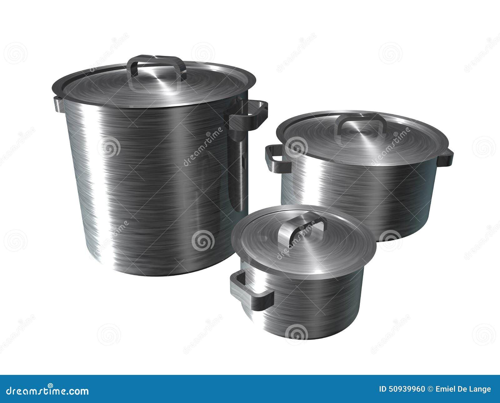 illustration of three stainless steel pans stock illustration image 50939960. Black Bedroom Furniture Sets. Home Design Ideas