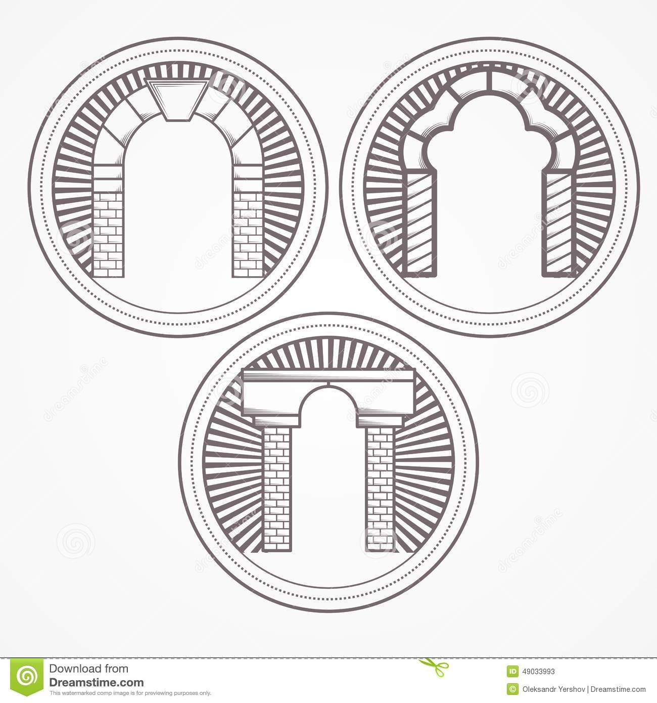 Illustration of three types brick arch icon stock photo for Brick types and styles