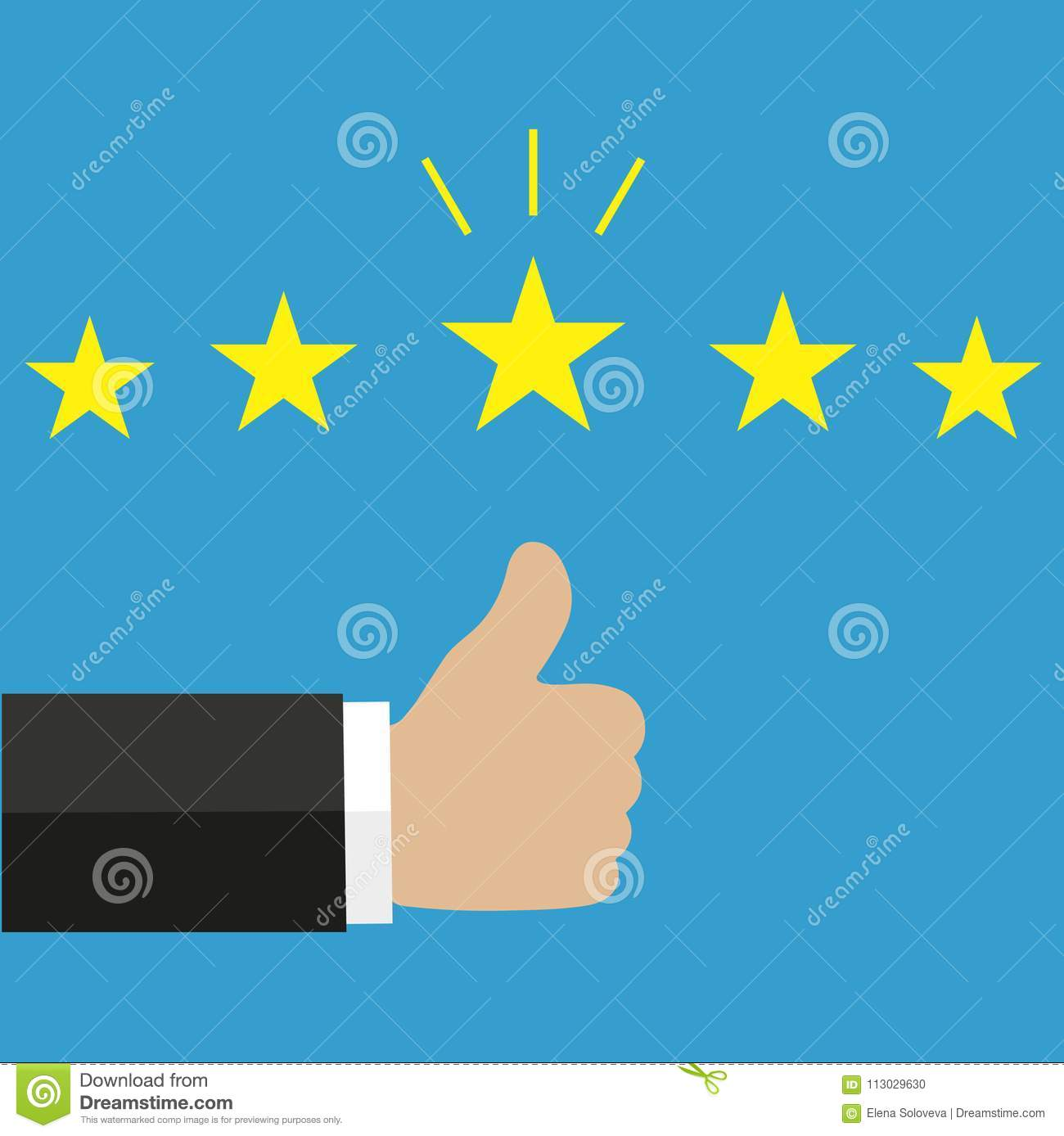 Illustration Thumb Up Pointing. Rating, Evaluation