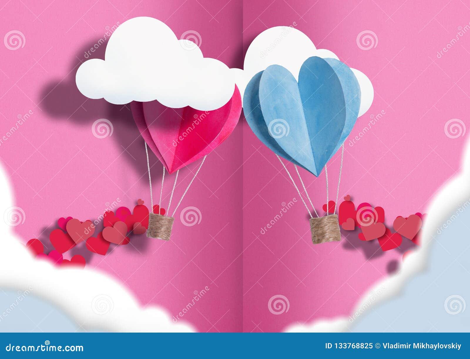Illustration till vännerna för dag allra ballonger av blått och rosa sprids runt om dem små hjärtor