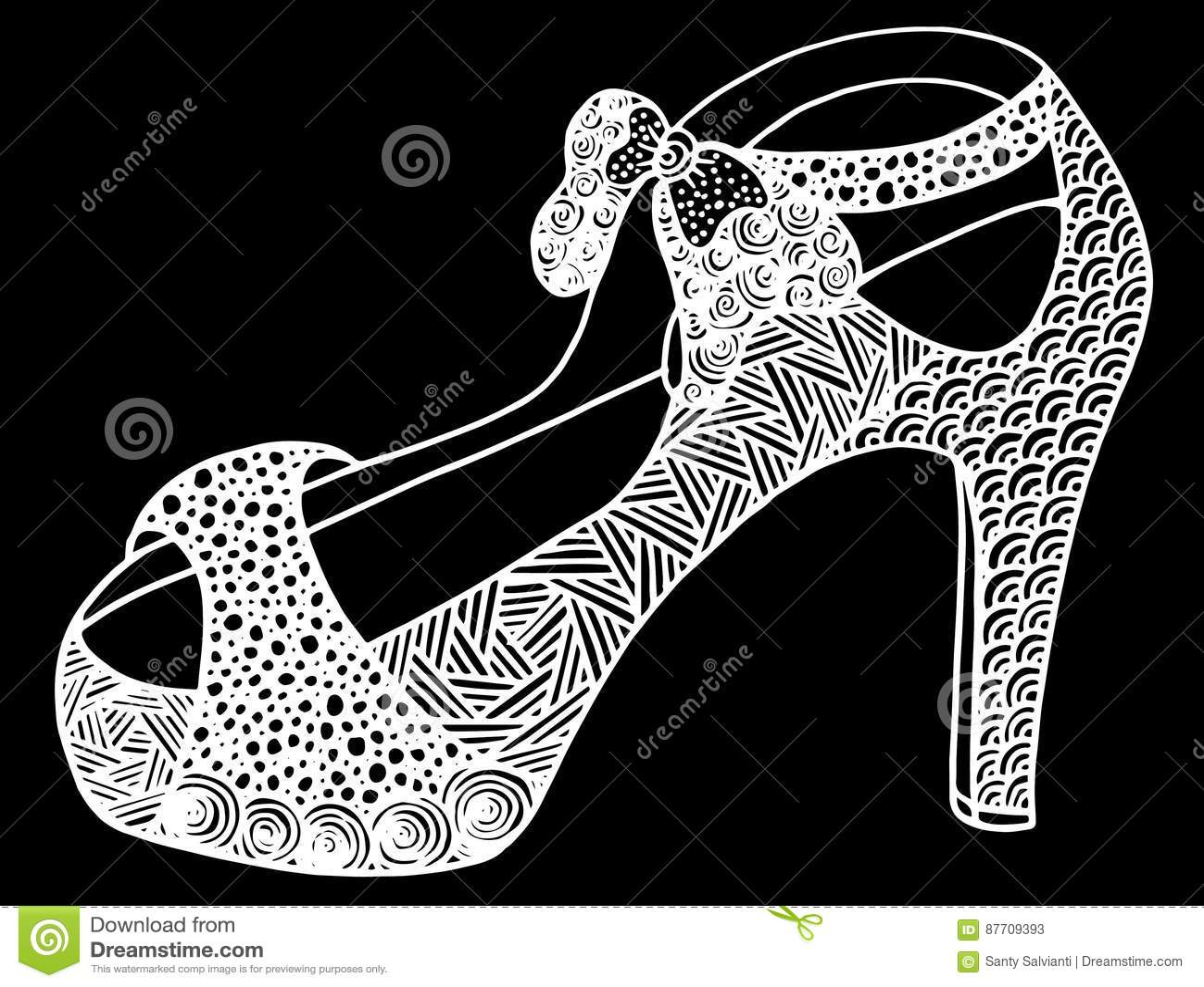 Illustration tirée par la main de chaussure de talon haut