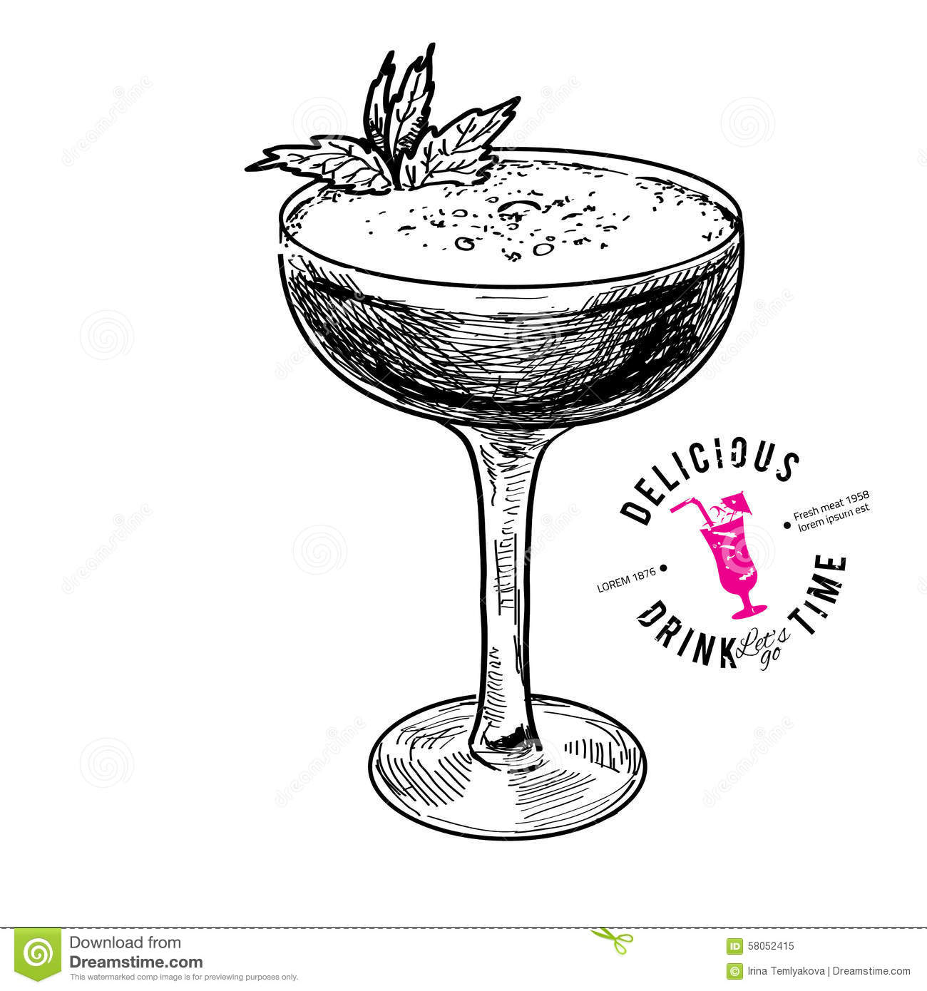 Illustration tirée par la main de cocktail