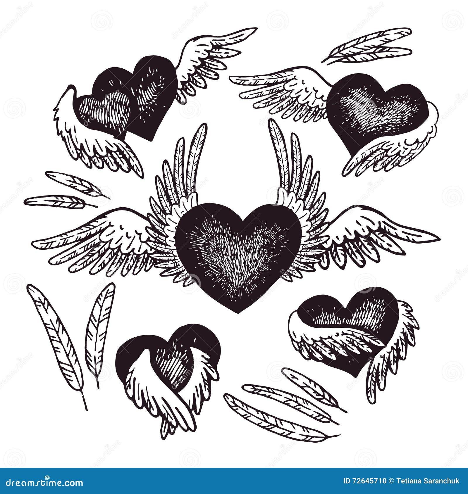 Illustration Tiree Par La Main De Coeur Avec Des Ailes D Ange