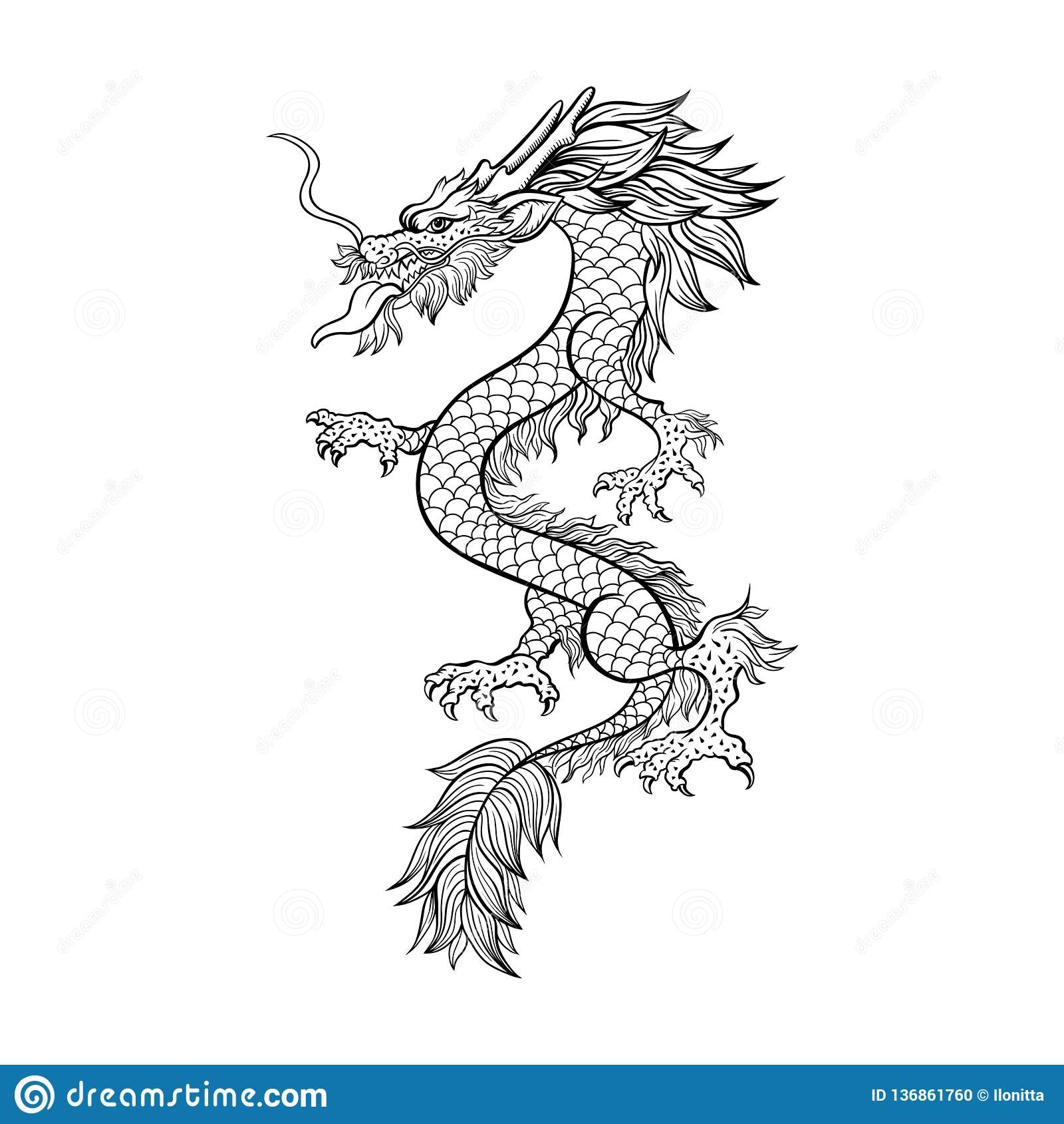 Illustration Tiree Par La Main De Decoupe De Dragon Chinois
