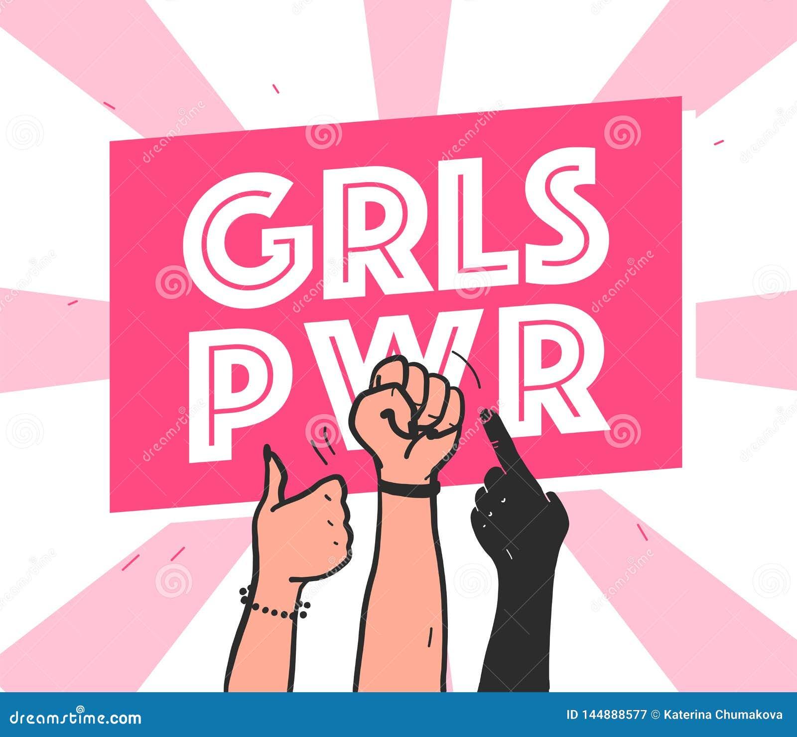 Illustration tirée par la main de vecteur avec la couleur de la peau différente de mains des textes de puissance de filles et d