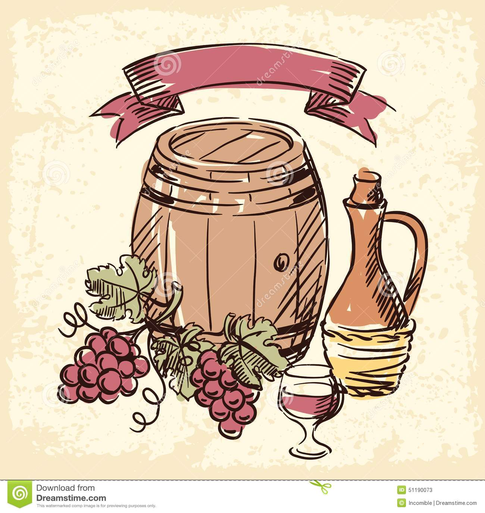 Illustration tirée par la main de vintage de vin