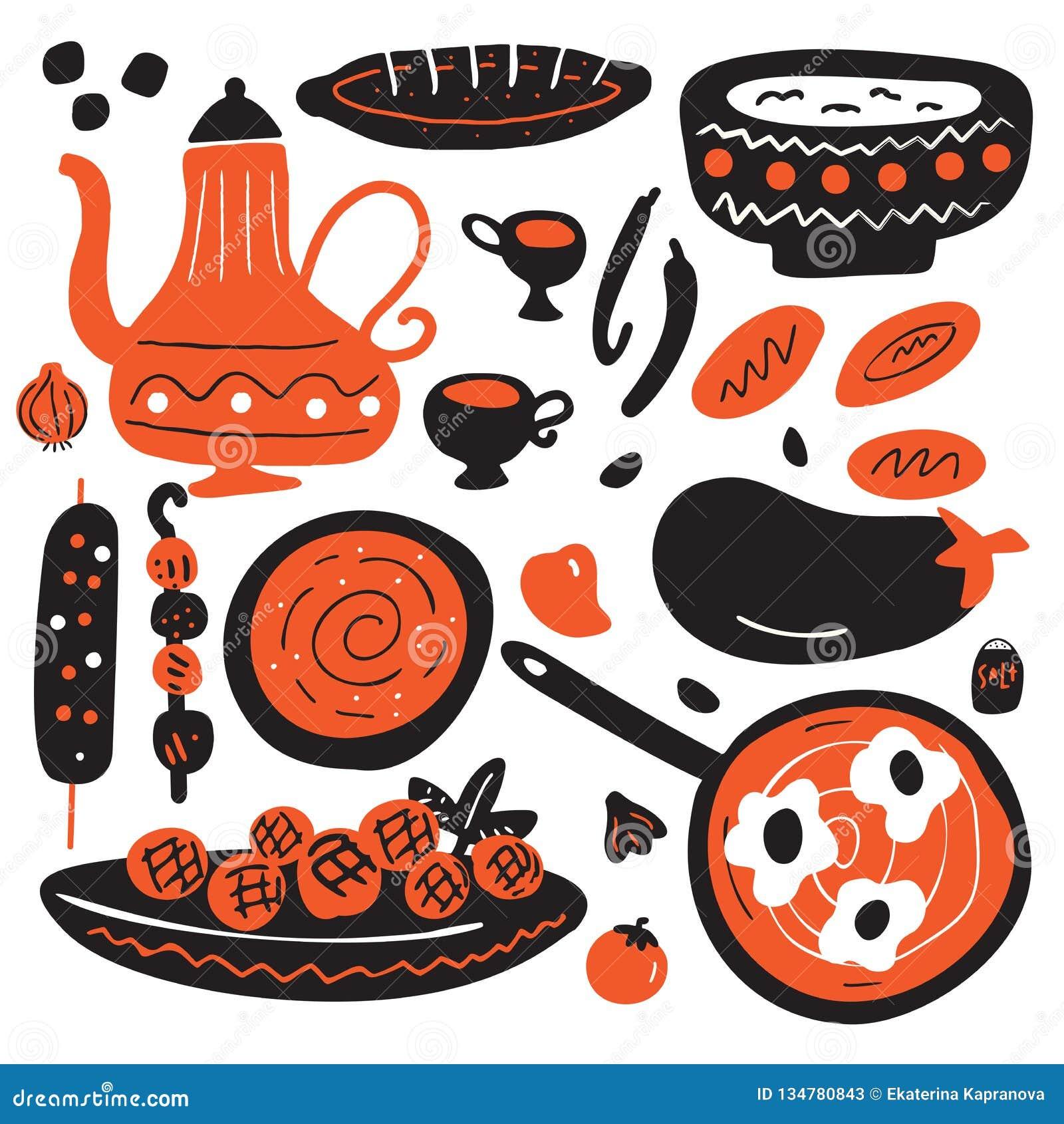 Illustration tirée par la main drôle de cuisine du Moyen-Orient traditionnelle D isolement sur le fond blanc