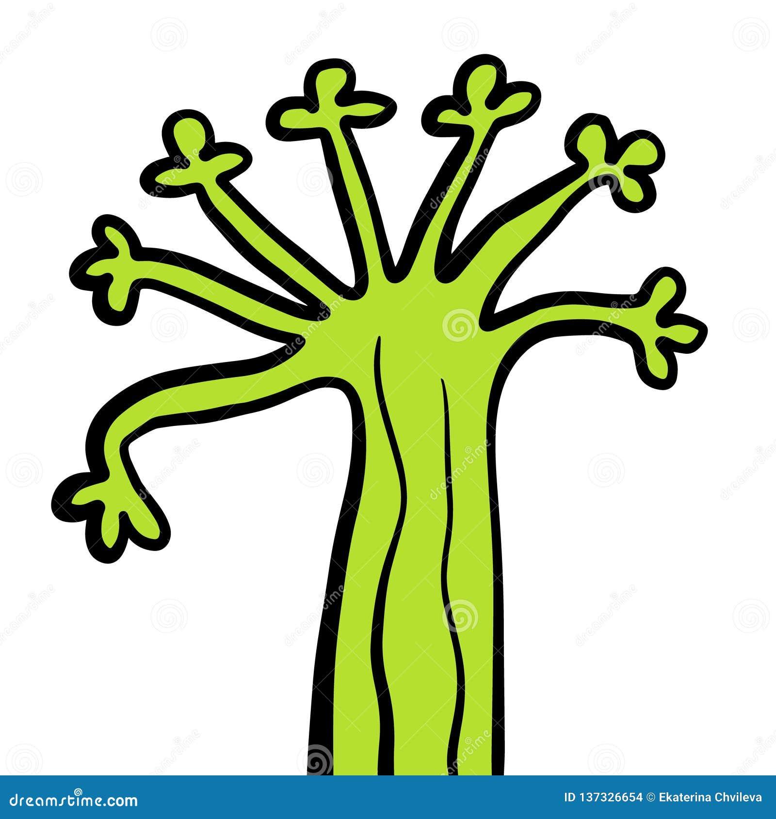 Illustration tirée par la main folle étrange verte d arbre forestier