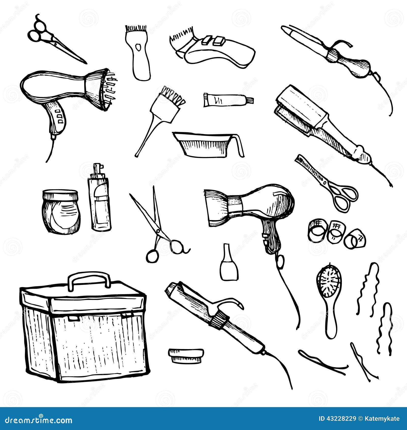Illustration Tir 233 E Par La Main Outils De Coiffure