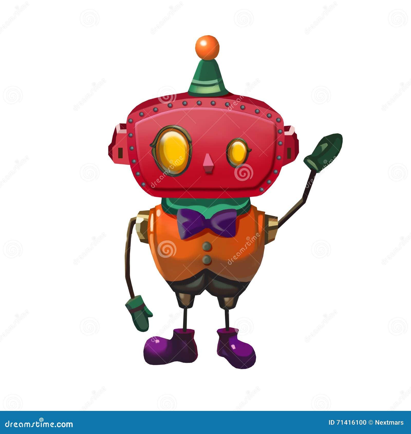 Cartoon Robot Toy : Illustration toy robot gentle man stock