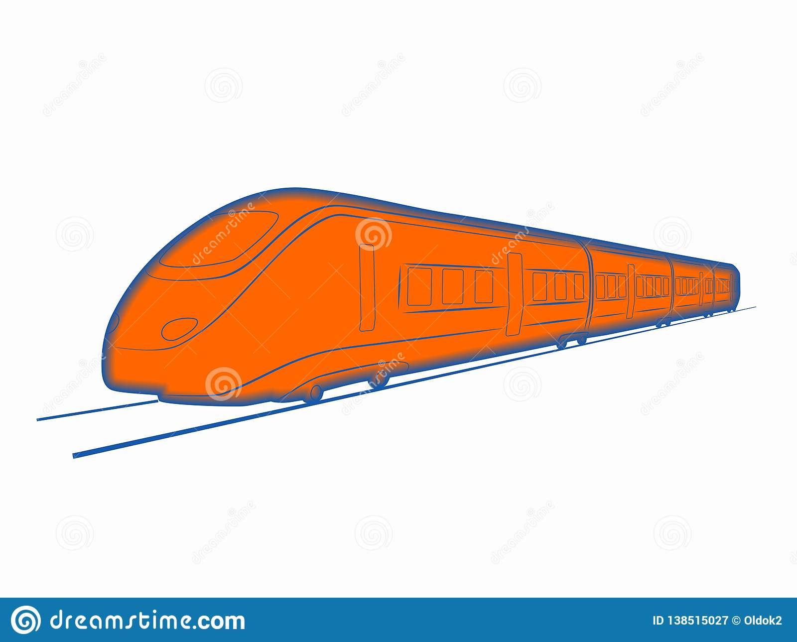 Silhouette Of Train Vector Drawing Stock Vector