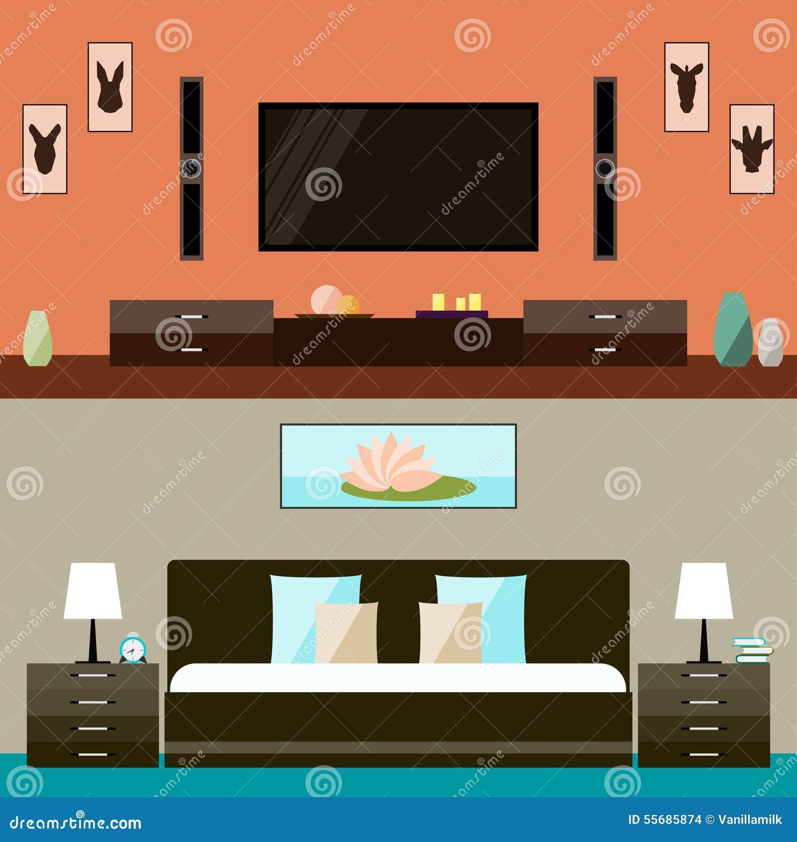 Interior design modern bedroom banner vector illustration for Interior design banner images