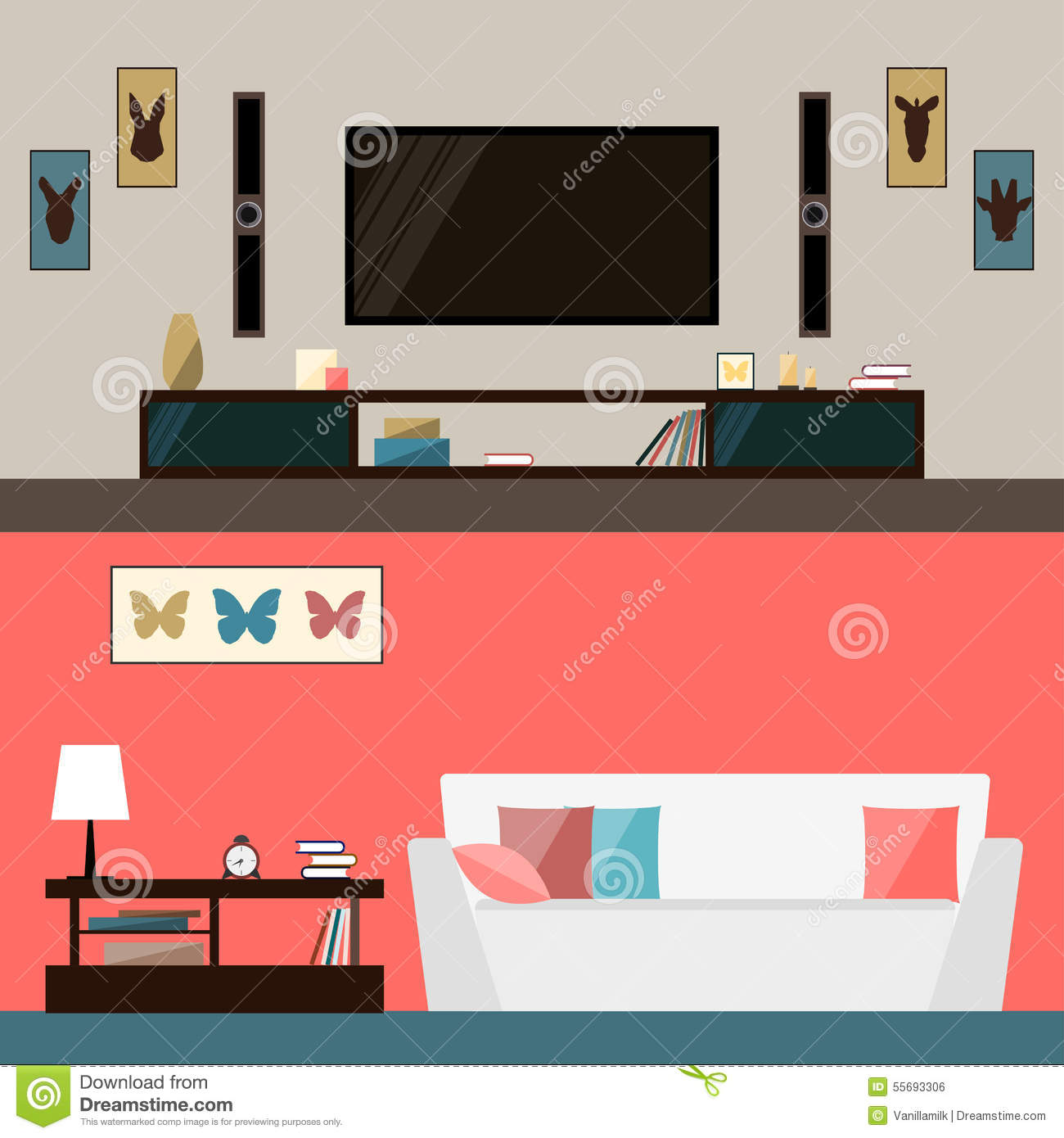 Illustration In Trendy Flat Style With Room Interior For
