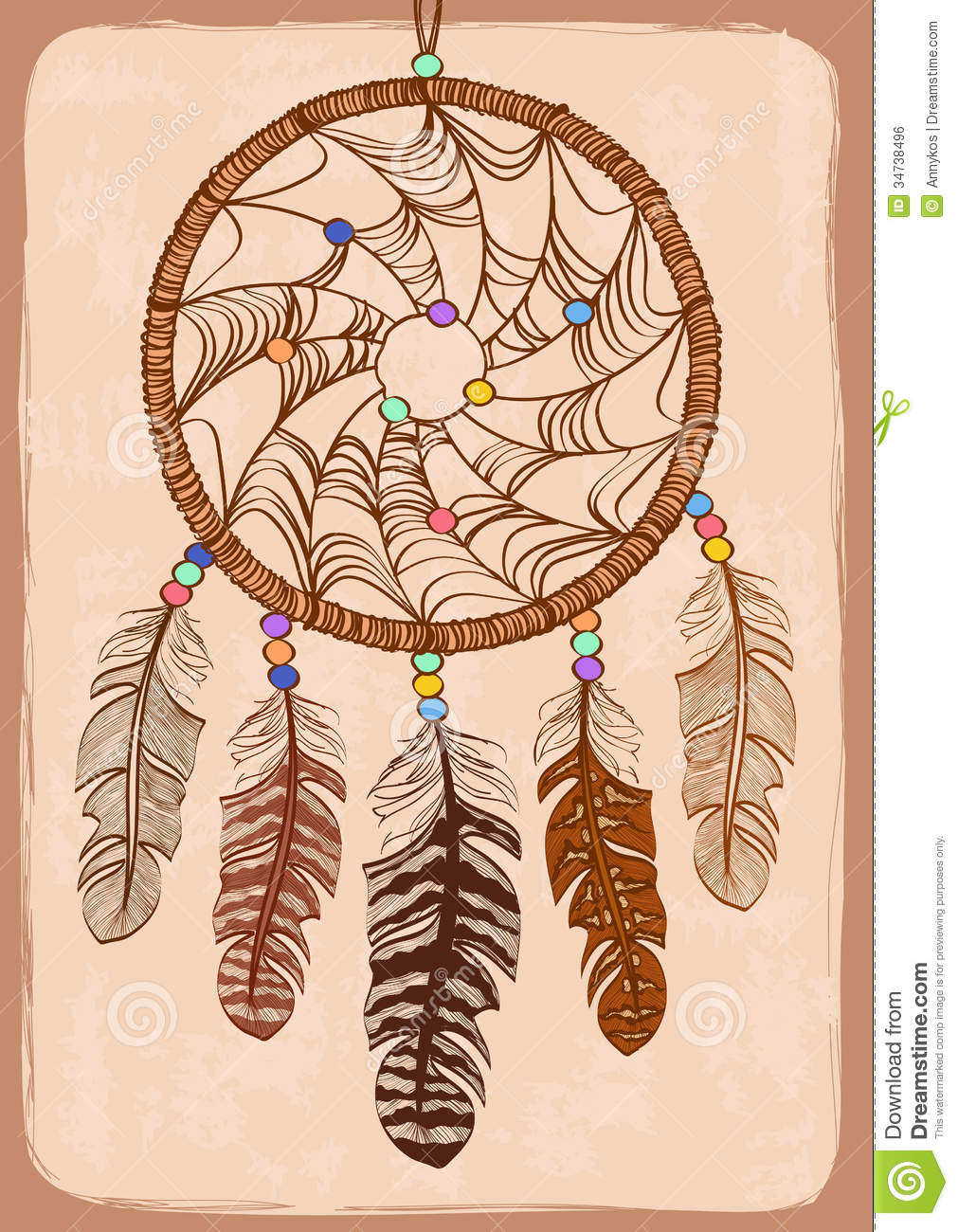 Illustration With Tribal Dreamcatcher Royalty Free Stock