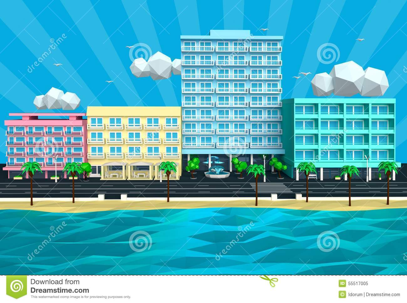Illustration Tropical Island Beach Street And Hotels 3D Stock Illustration Image