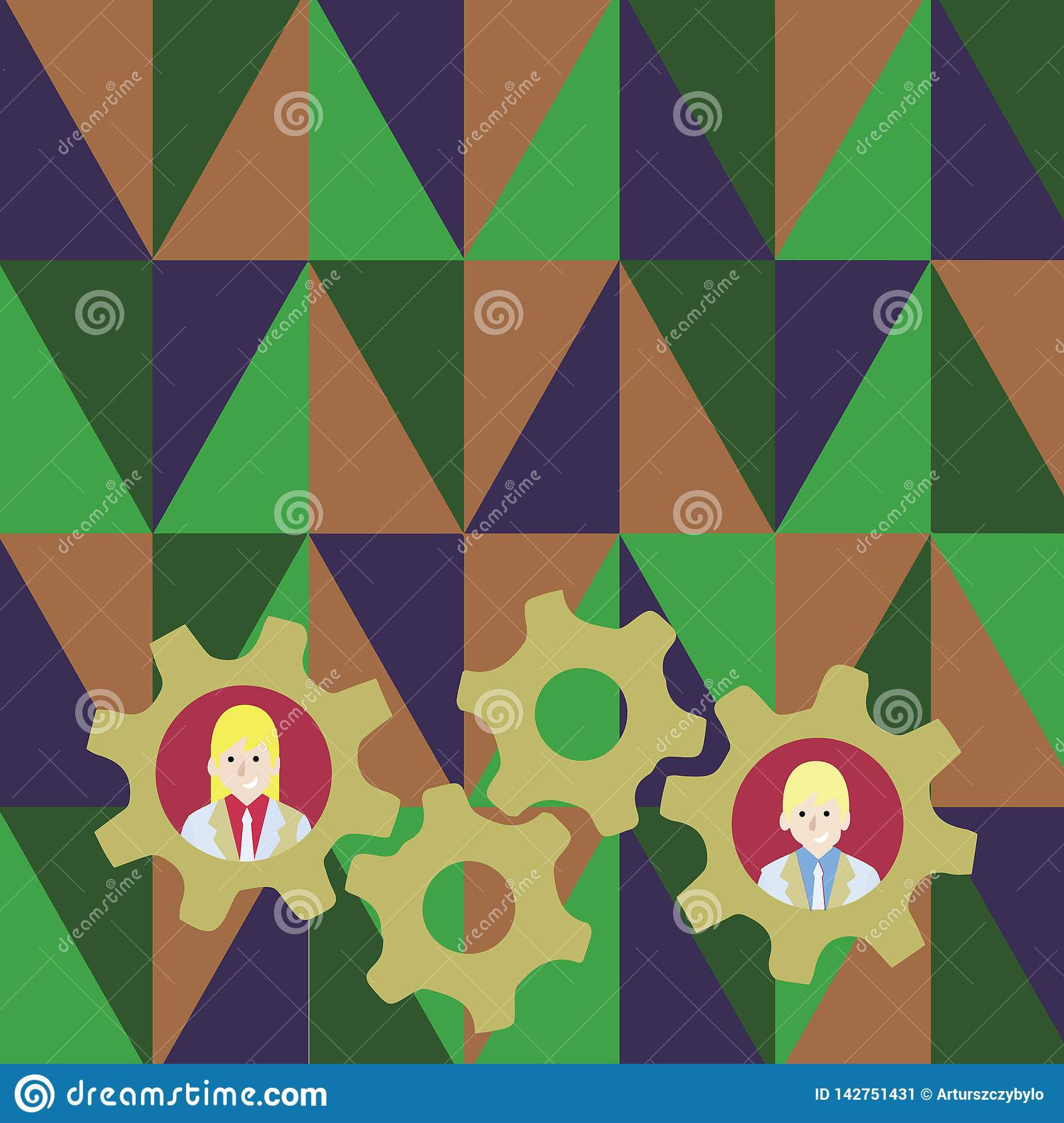 Illustration of Two Business People Each Inside Colorful Cog Wheel Gears photo. Creative Background Idea for Team