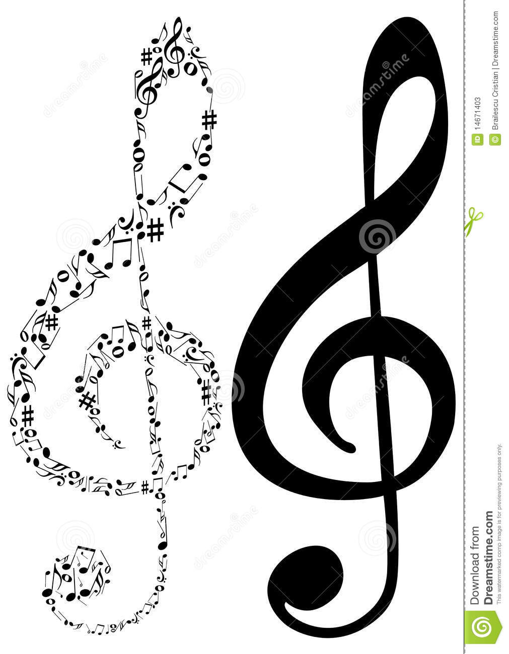 illustration of two g clef and music notes stock photos image