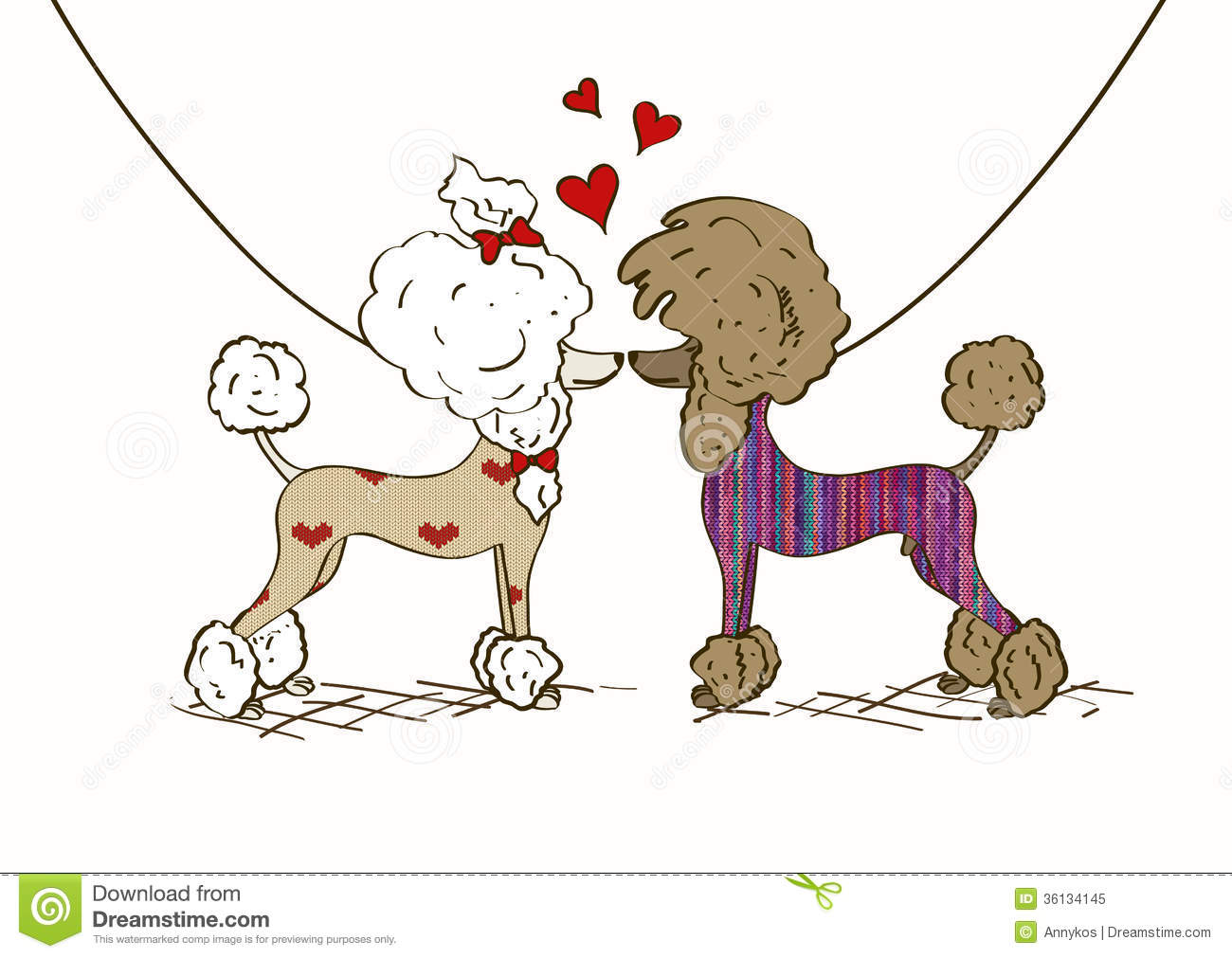 ... illustration of two lovers Poodle dogs dressed in knitted clothes