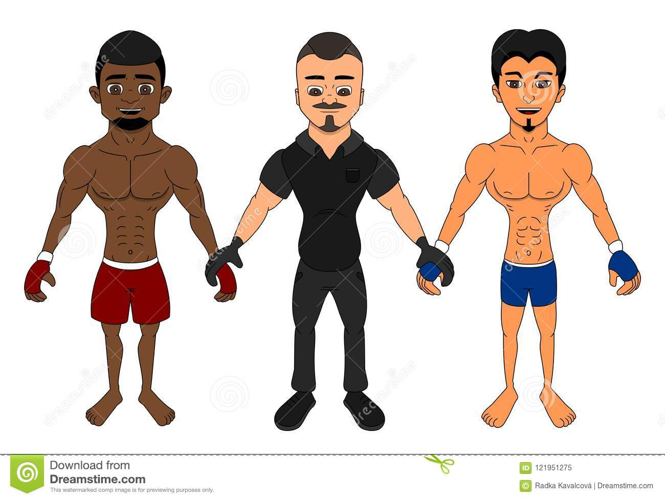 MMA fighters and a referee cartoon