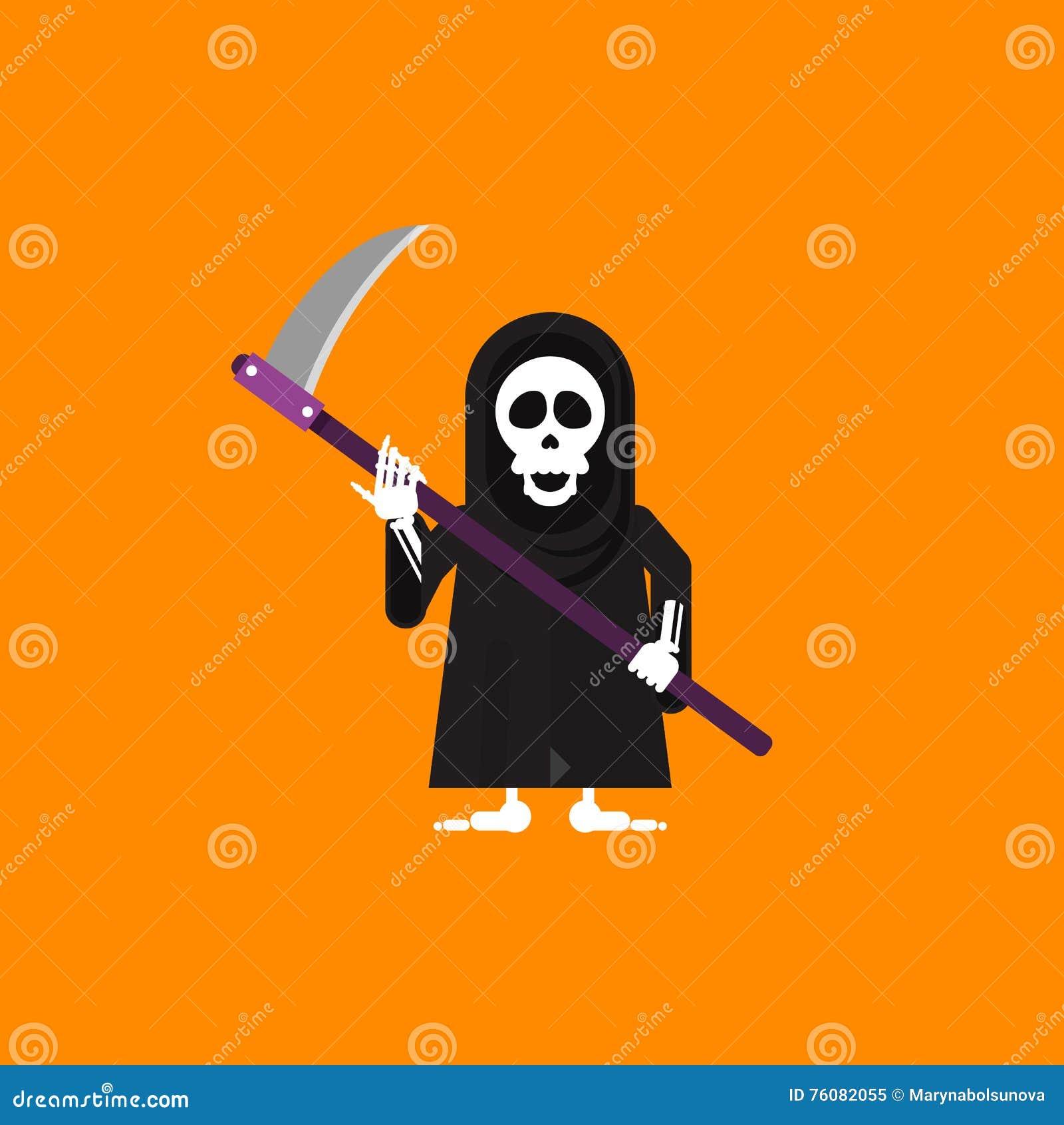 Illustration un caractère de faucheuse pour Halloween dans le style plat