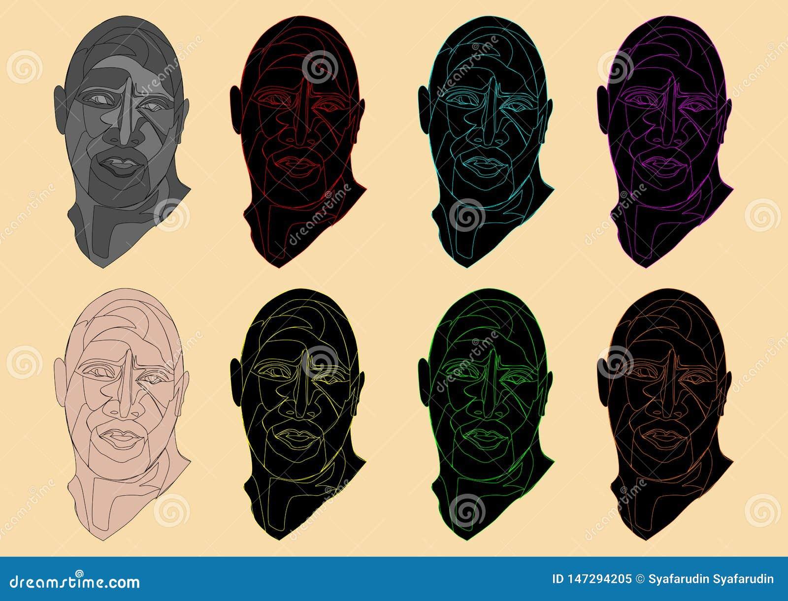 illustration of a unique colorful human head