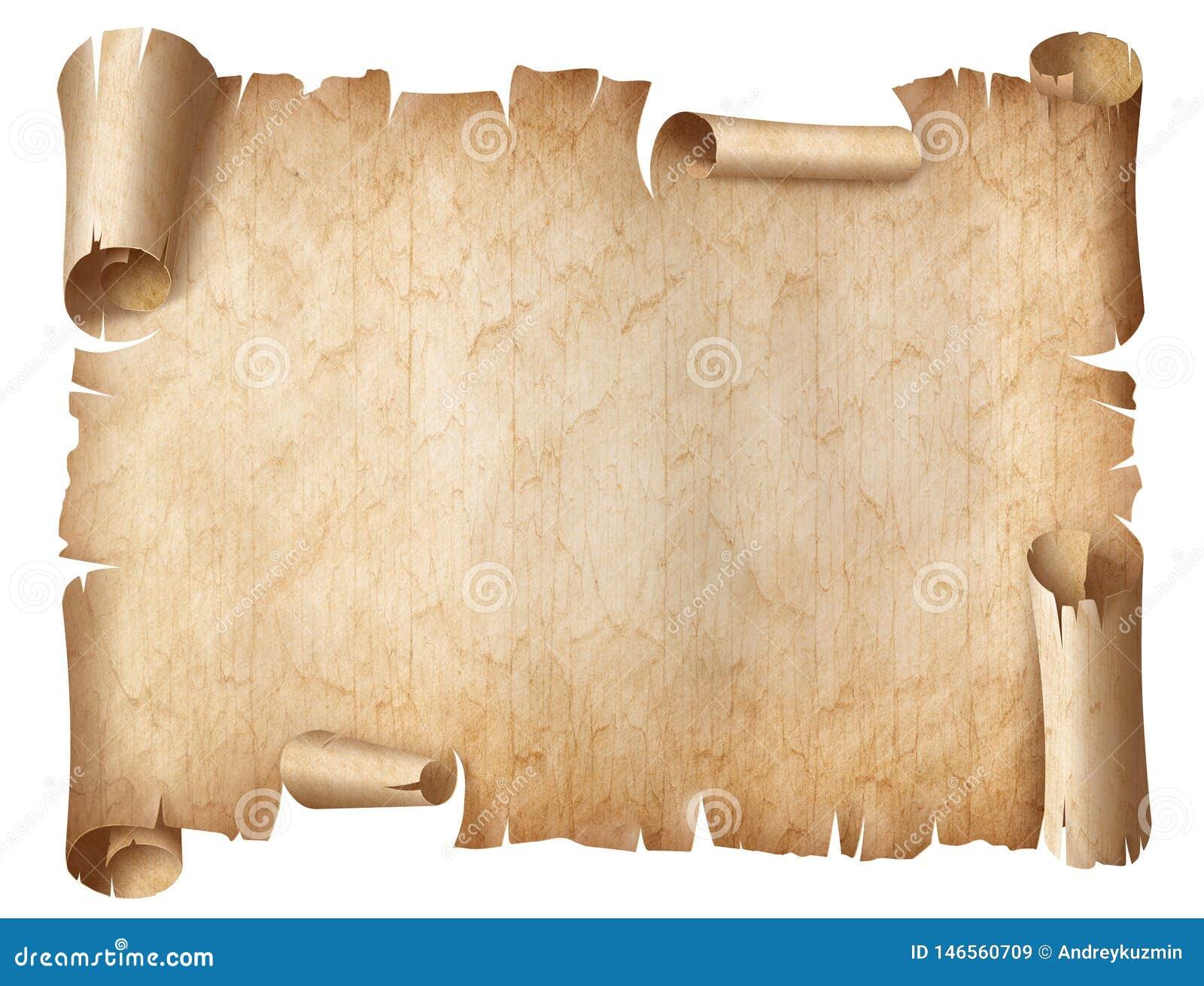 Illustration usée antique de parchemin d isolement sur le blanc