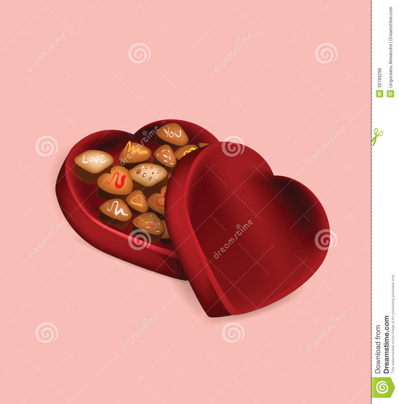 Illustration Of Valentine S Day Chocolate Box On Pink Background