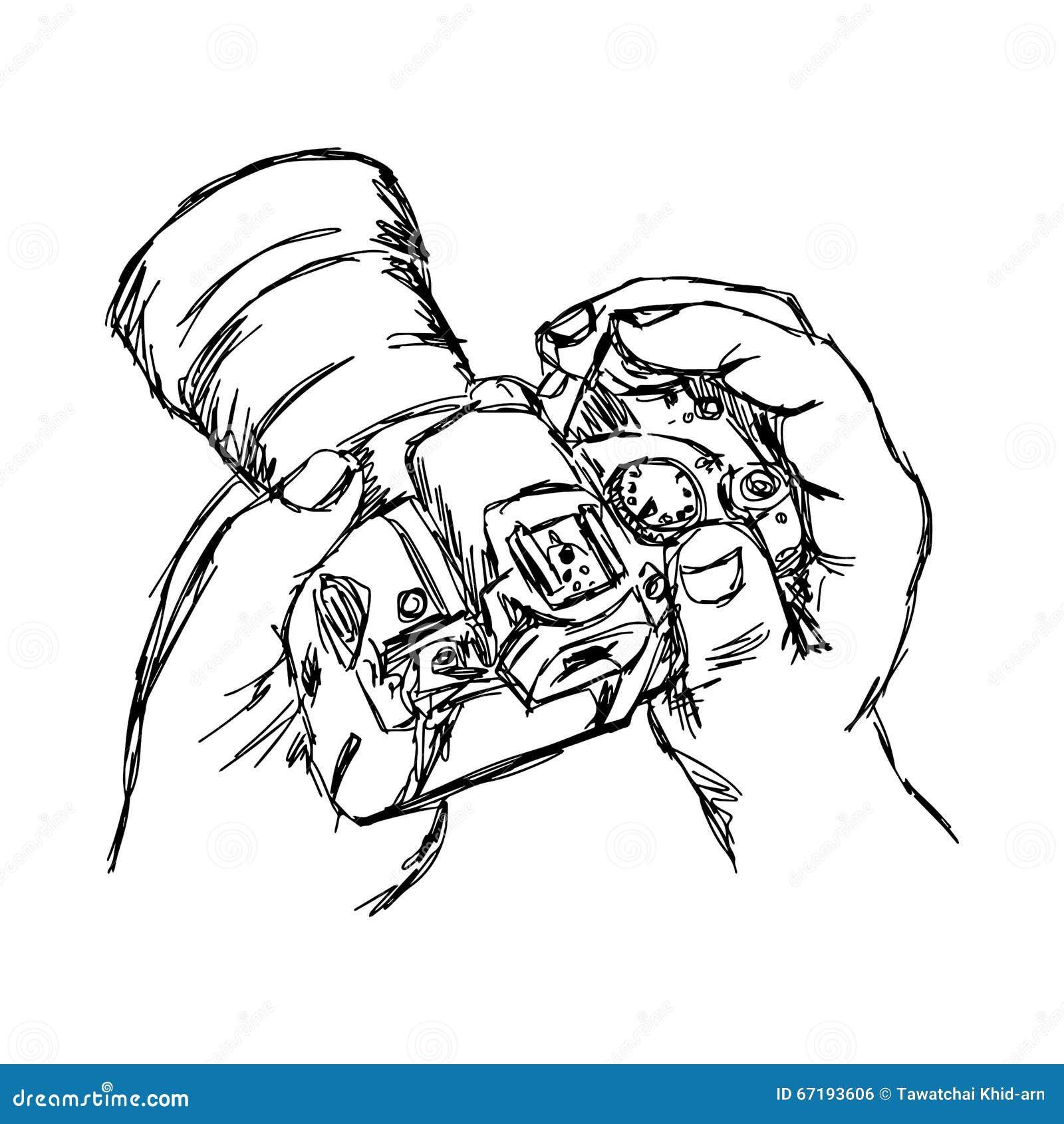 illustration vector doodle hand drawn of sketch hand holding cam Hot Web Camera illustration vector doodle hand drawn of sketch hand holding cam