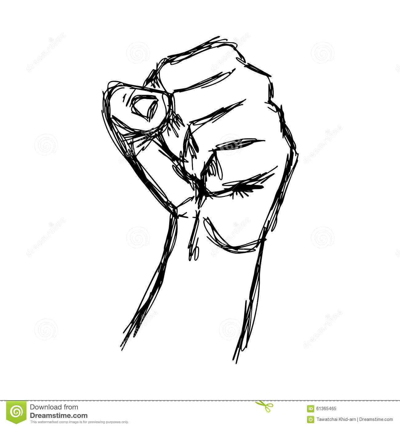 Illustration vector doodle hand drawn of sketch raised fist
